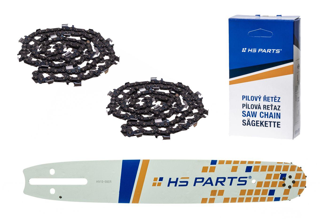 """HS PARTS Vodiaca líšta 15""""(38cm) + 2x reťaz hranatý zub .3/8"""" 1,5mm 56 článkov"""