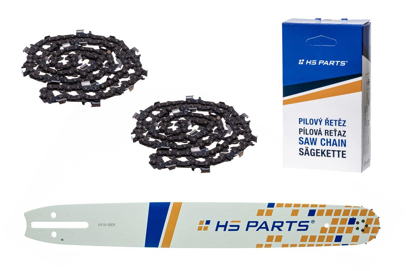 """HS PARTS Vodiaca líšta 18""""(45cm) + 2x reťaz hranatý zub .3/8"""" 1,5mm 68 čl. pre Husqvarna"""