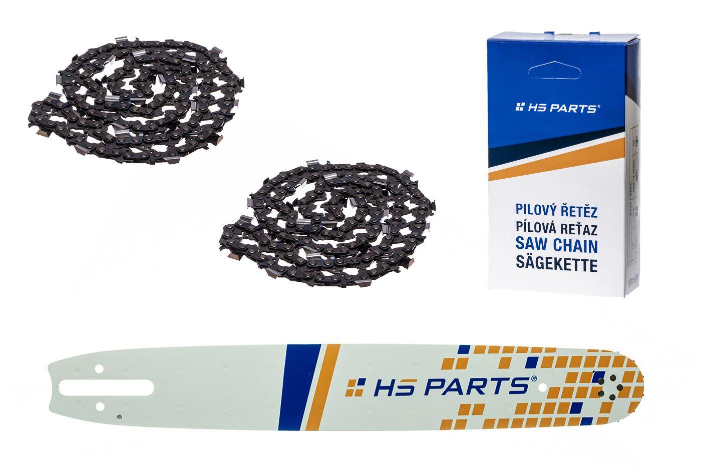 """HS PARTS Vodiaca líšta 15"""" (38cm) + 2 x reťaz hranatý zub .325"""" 1,6mm 62 článkov pre Stihl"""