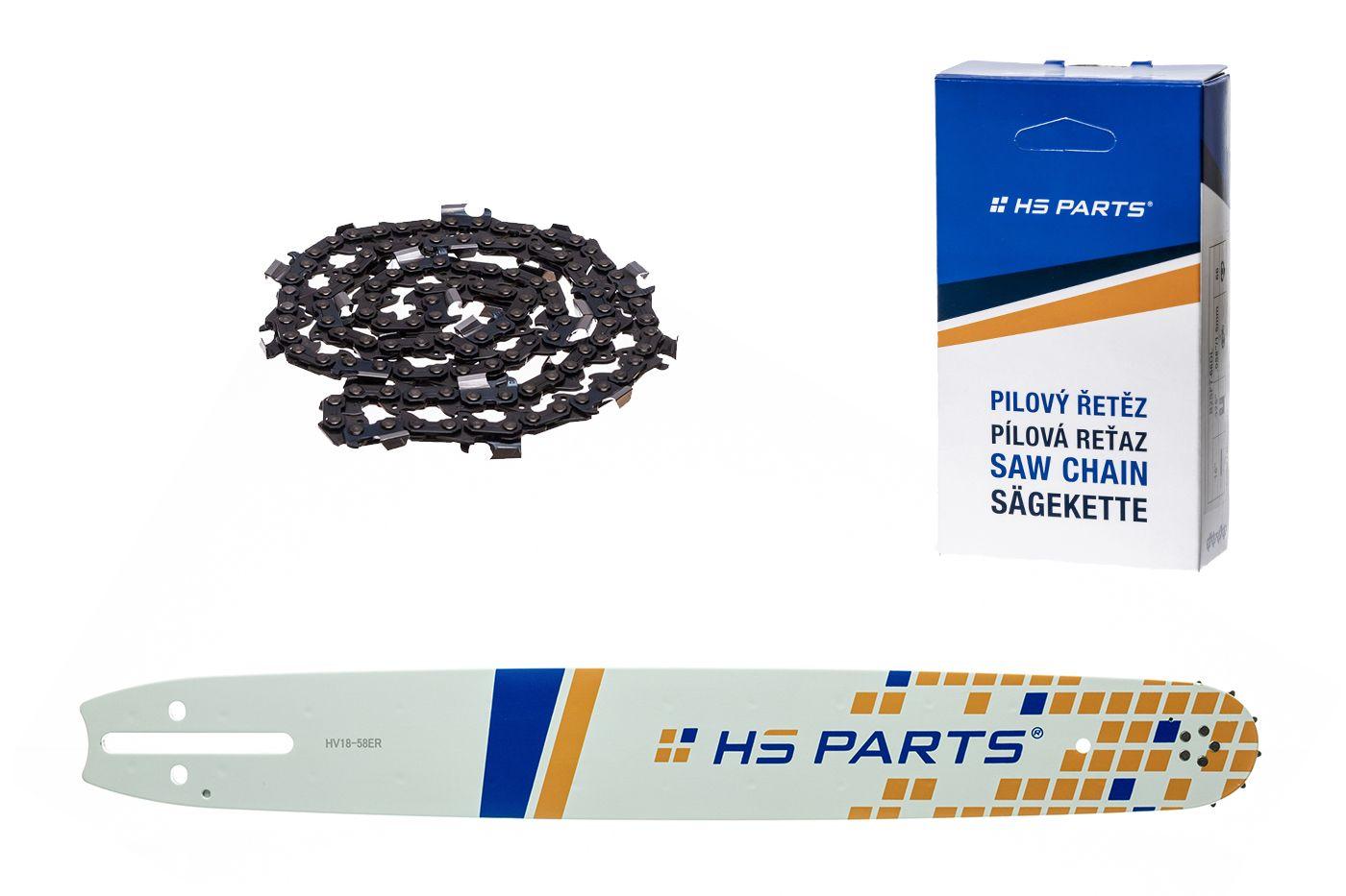 """HS PARTS Vodiaca líšta 18""""(45cm) + reťaz hranatý zub .3/8"""" 1,5mm 68 čl. pre Husqvarna"""
