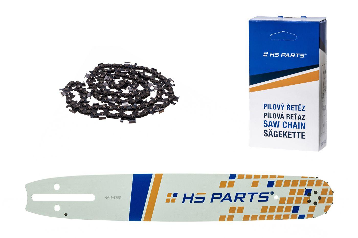"""HS PARTS Akční set vodící lišta 15"""" (38 cm) 3/8"""" .058"""" (1,5 mm) + pilový řetěz p.ř"""