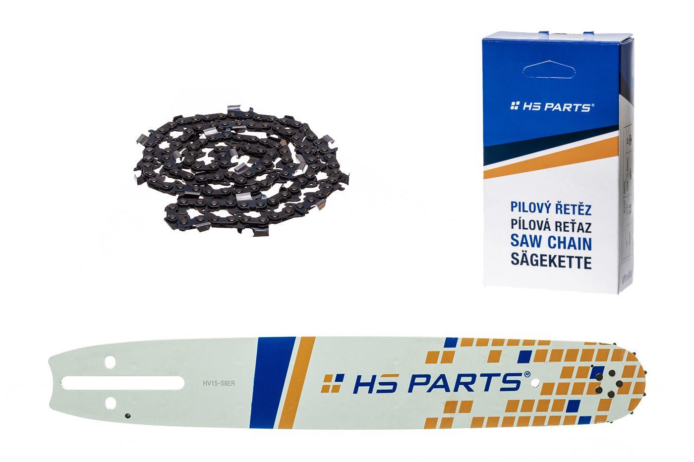 """HS PARTS Vodiaca líšta 15""""(38cm) + reťaz hranatý zub .3/8"""" 1,5mm 56 čl. pre Husqvarna"""