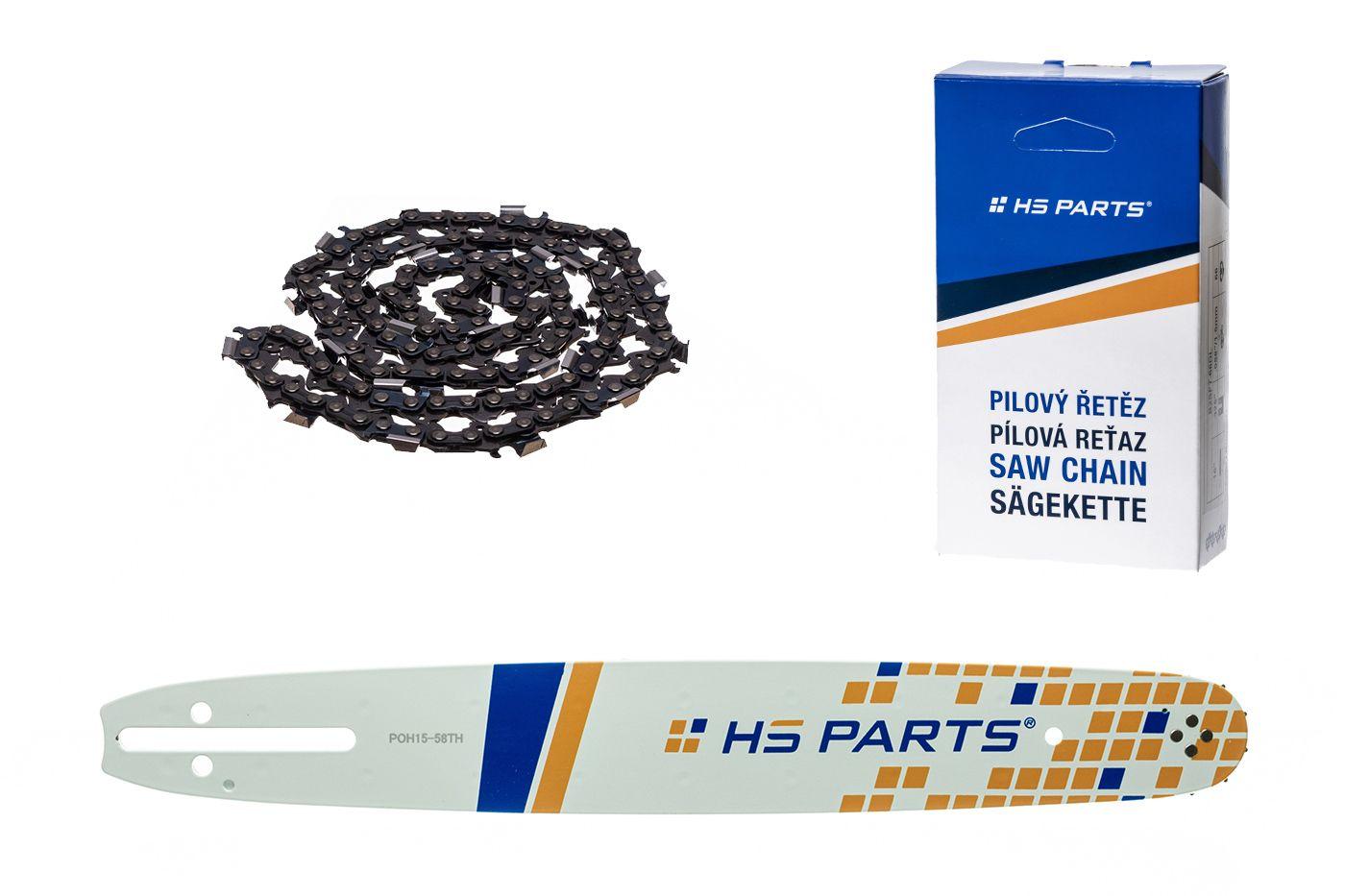 """HS PARTS Vodiaca líšta 15""""(38cm) + reťaz hranatý zub .325"""" 1,5mm 64 čl. pre Husqvarna"""