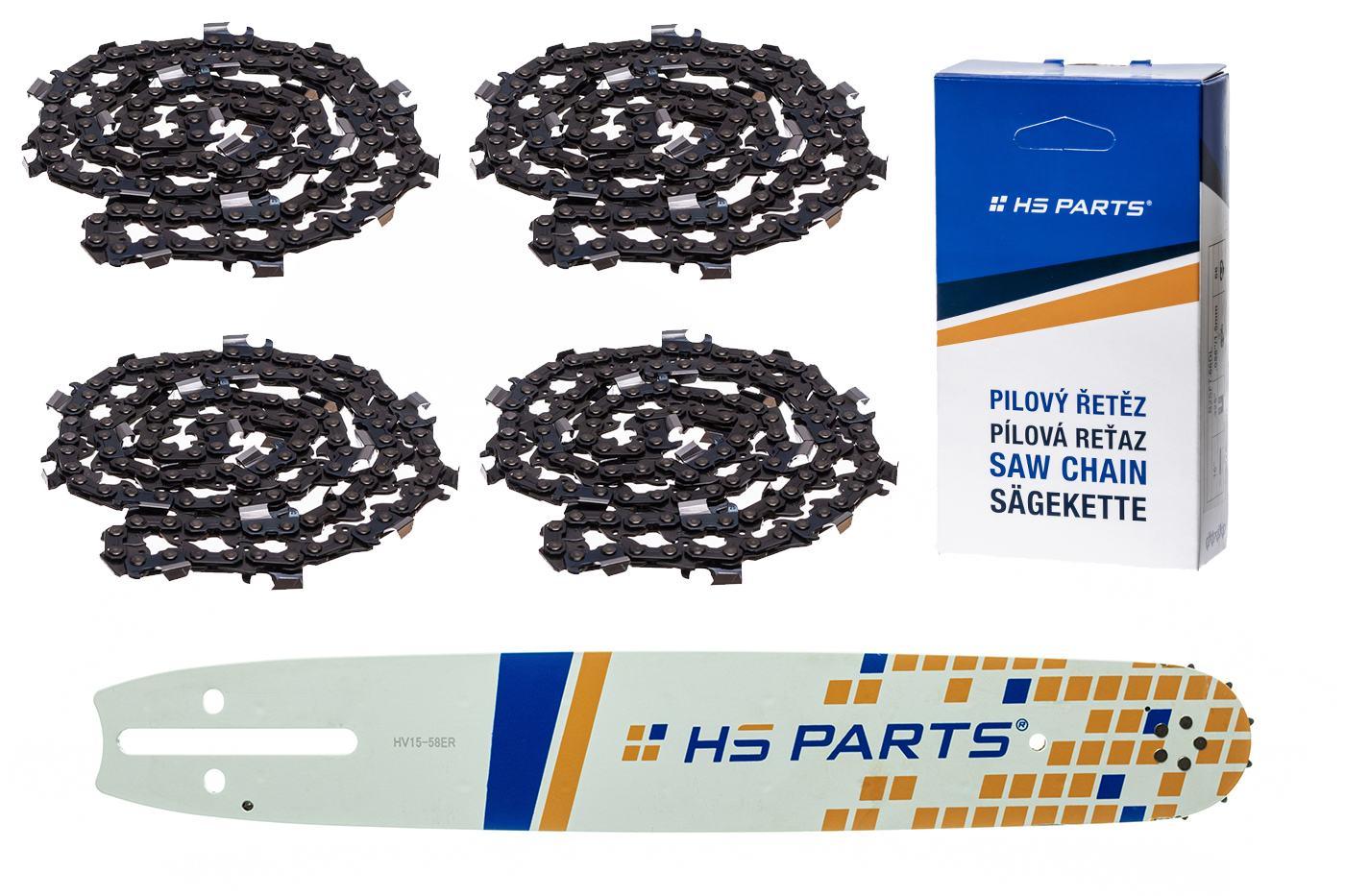 """HS PARTS Vodiaca líšta 15""""(38cm) + 4x reťaz hranatý zub .3/8"""" 1,5mm 56 čl. pre Husqvarna"""