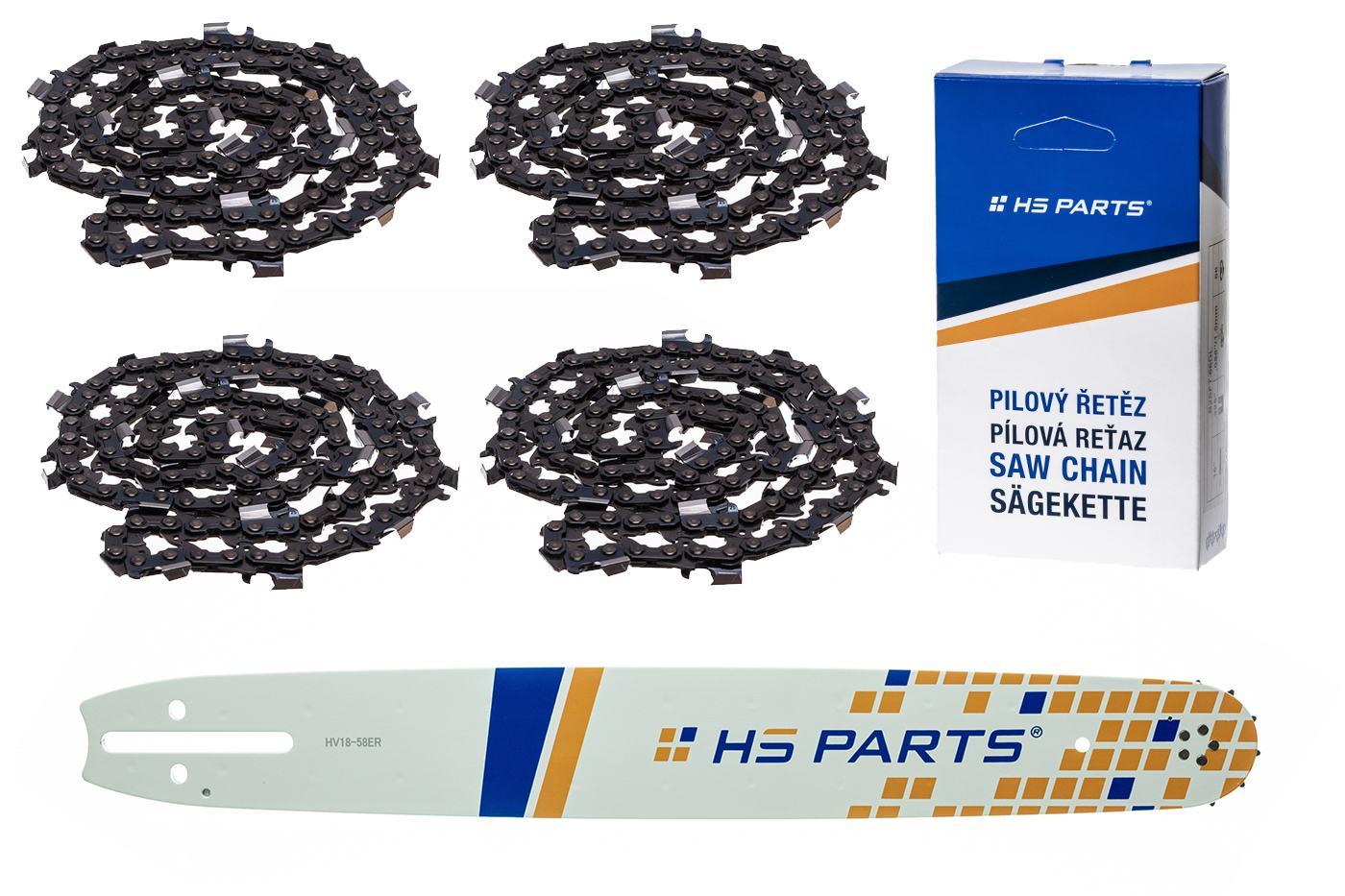 """HS PARTS Vodiaca líšta 18""""(45cm) + 4x reťaz hranatý zub .3/8"""" 1,5mm 68 čl. pre Husqvarna"""