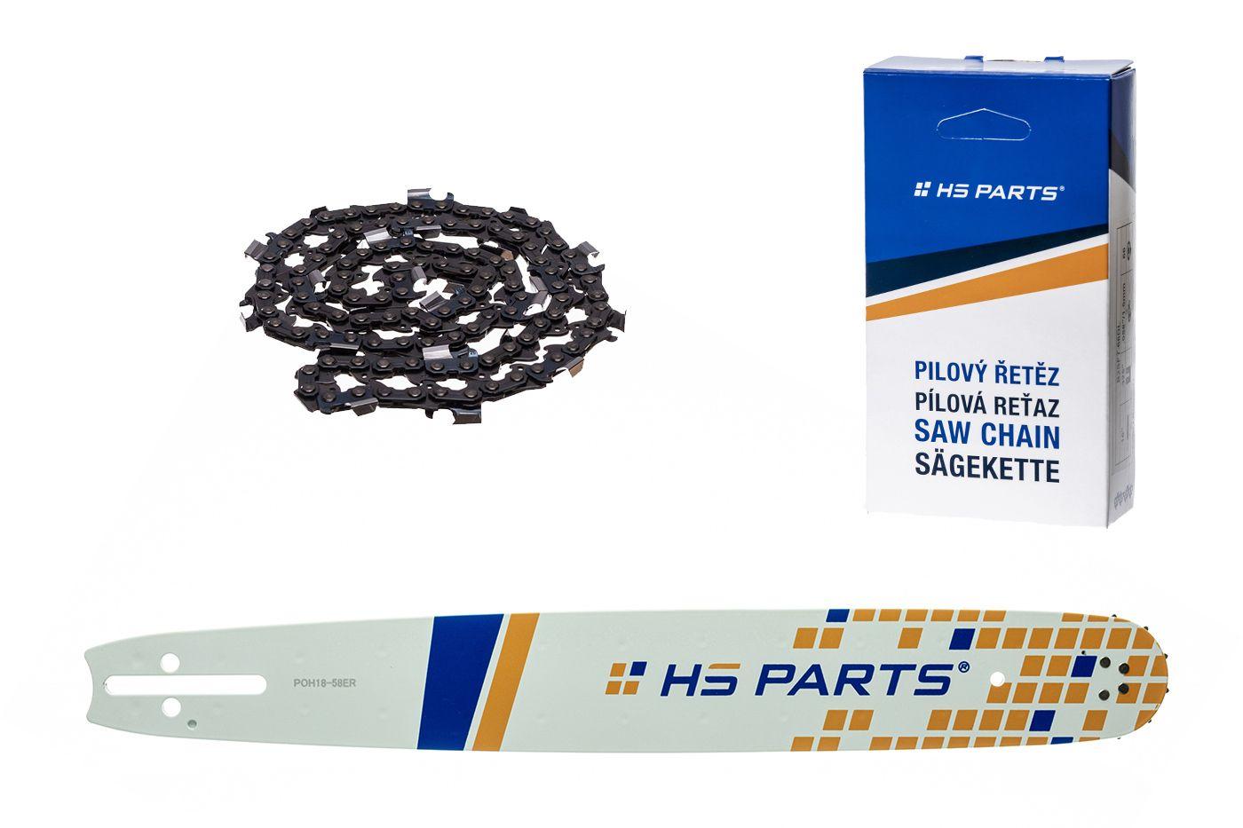 """HS PARTS Akční set vodící lišta 18"""" (45 cm) 3/8"""" .058"""" (1,5 mm) + pilový řetěz"""