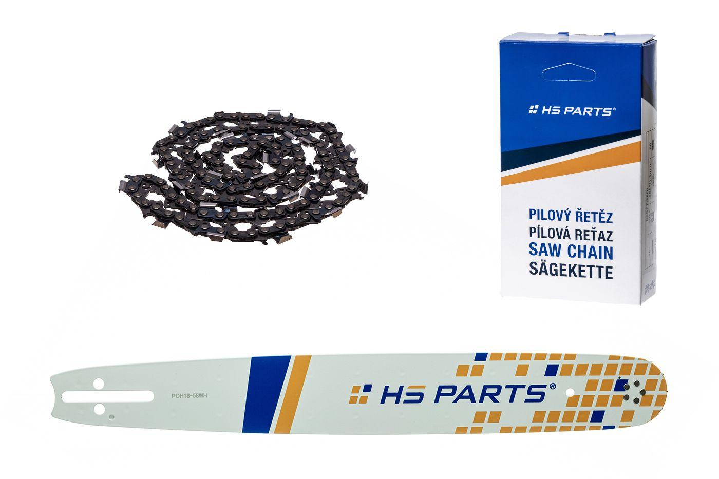 """HS PARTS Vodiaca líšta 18""""(45cm) + reťaz hranatý zub .325"""" 1,5mm 72 čl. pre Husqvarna"""