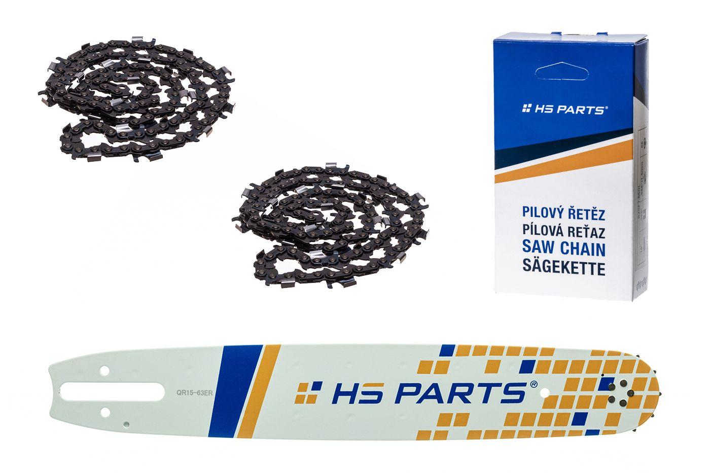 """HS PARTS Akční set vodící lišta 15"""" (38 cm) 3/8"""" .063"""" (1,6 mm) + 2 x pilový řetěz p.ř 56 čl."""