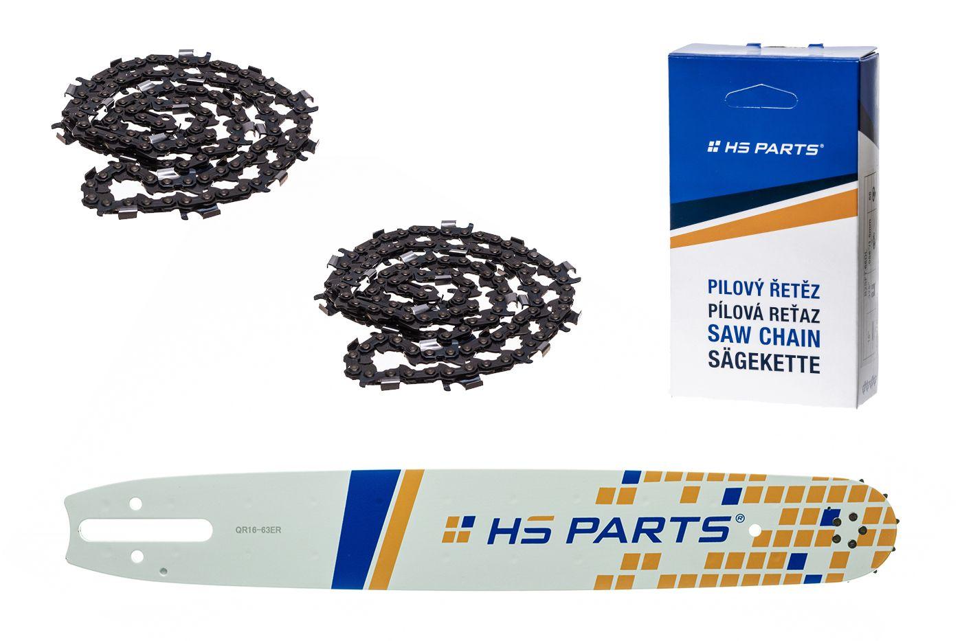 """HS PARTS Akční set vodící lišta 16"""" (40 cm) 3/8"""" .063"""" (1,6 mm) + 2 x pilový řetěz 60 čl."""