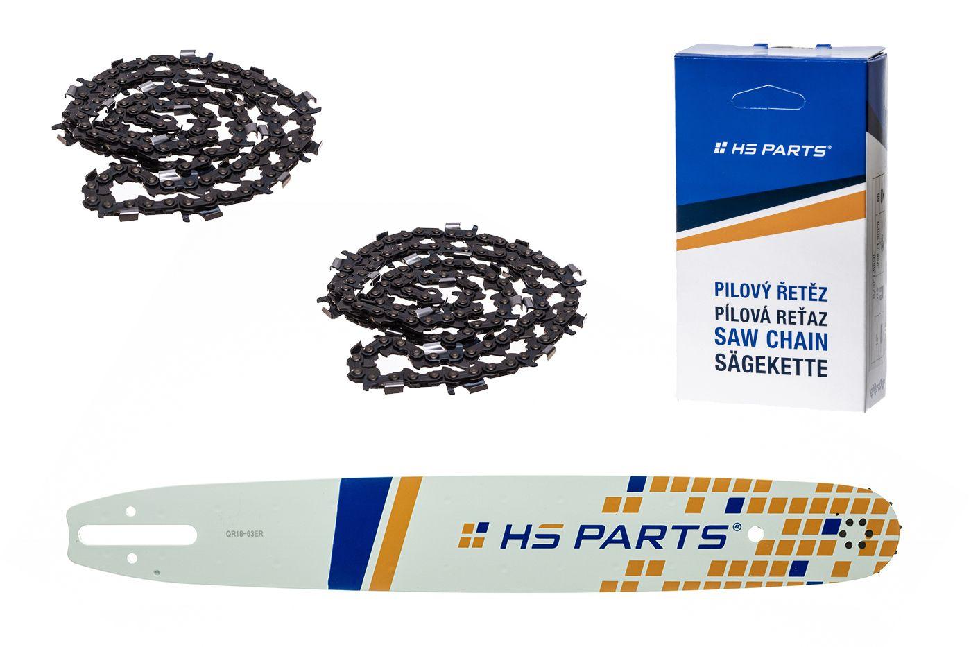 """HS PARTS Akční set vodící lišta 18"""" (45 cm) 3/8"""" .063"""" (1,6 mm) + 2 x pilový řetěz 66 čl."""