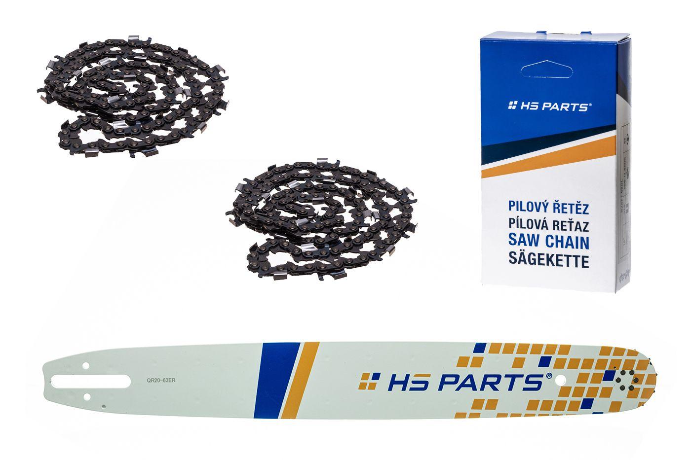"""HS PARTS Akční set vodící lišta 20"""" (50 cm) 3/8"""" .063"""" (1,6 mm) + 2 x pilový řetěz 72 čl."""