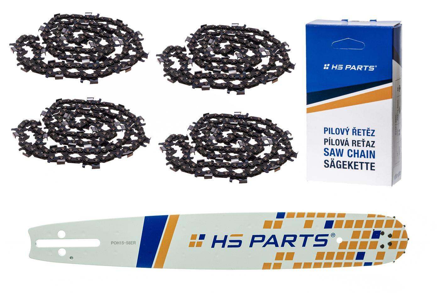 """HS PARTS Akční set vodící lišta 15"""" (38 cm) 3/8"""" .058"""" (1,5 mm) + 4 x pilový řetěz 56 čl"""