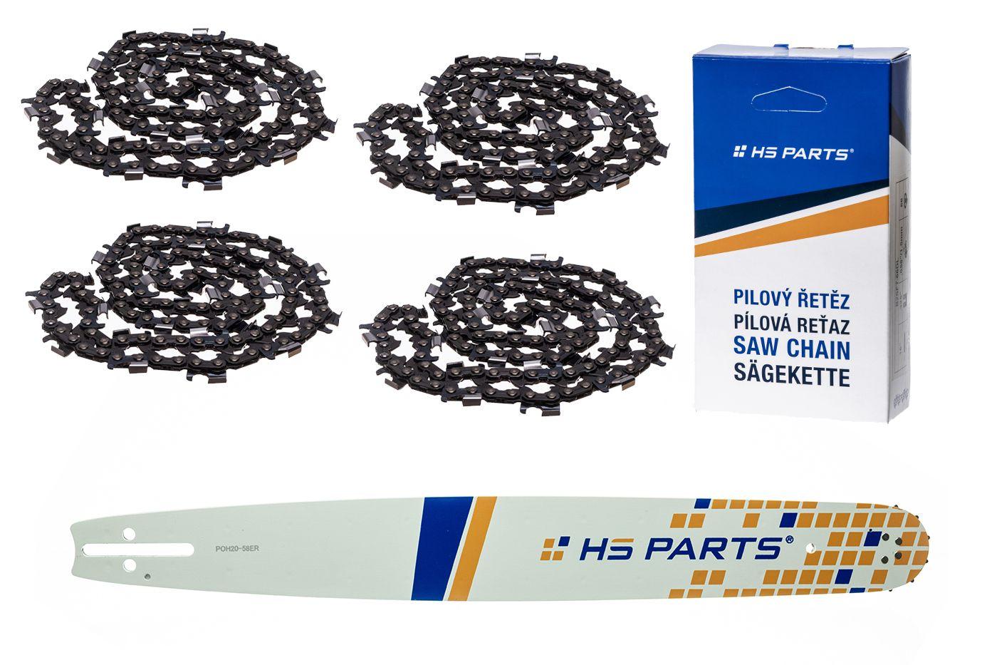 """HS PARTS Akční set vodící lišta 20"""" (50 cm) 3/8"""" .058"""" (1,5 mm) + 4 x pilový řetěz 72 čl."""