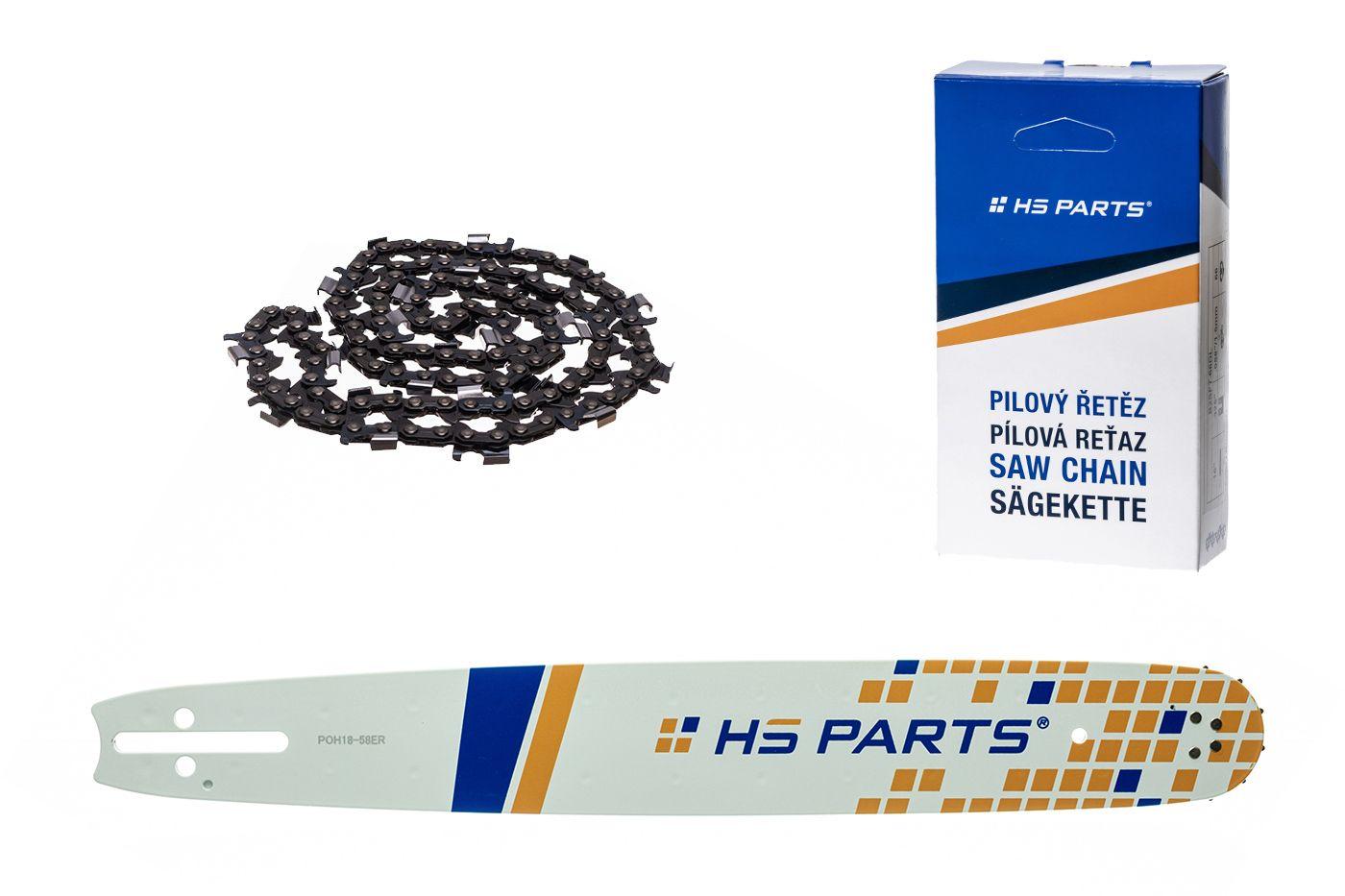 """HS PARTS Akční set vodící lišta 18"""" (45 cm) 3/8"""" .058"""" (1,5 mm) + pilový řetěz p.ř"""