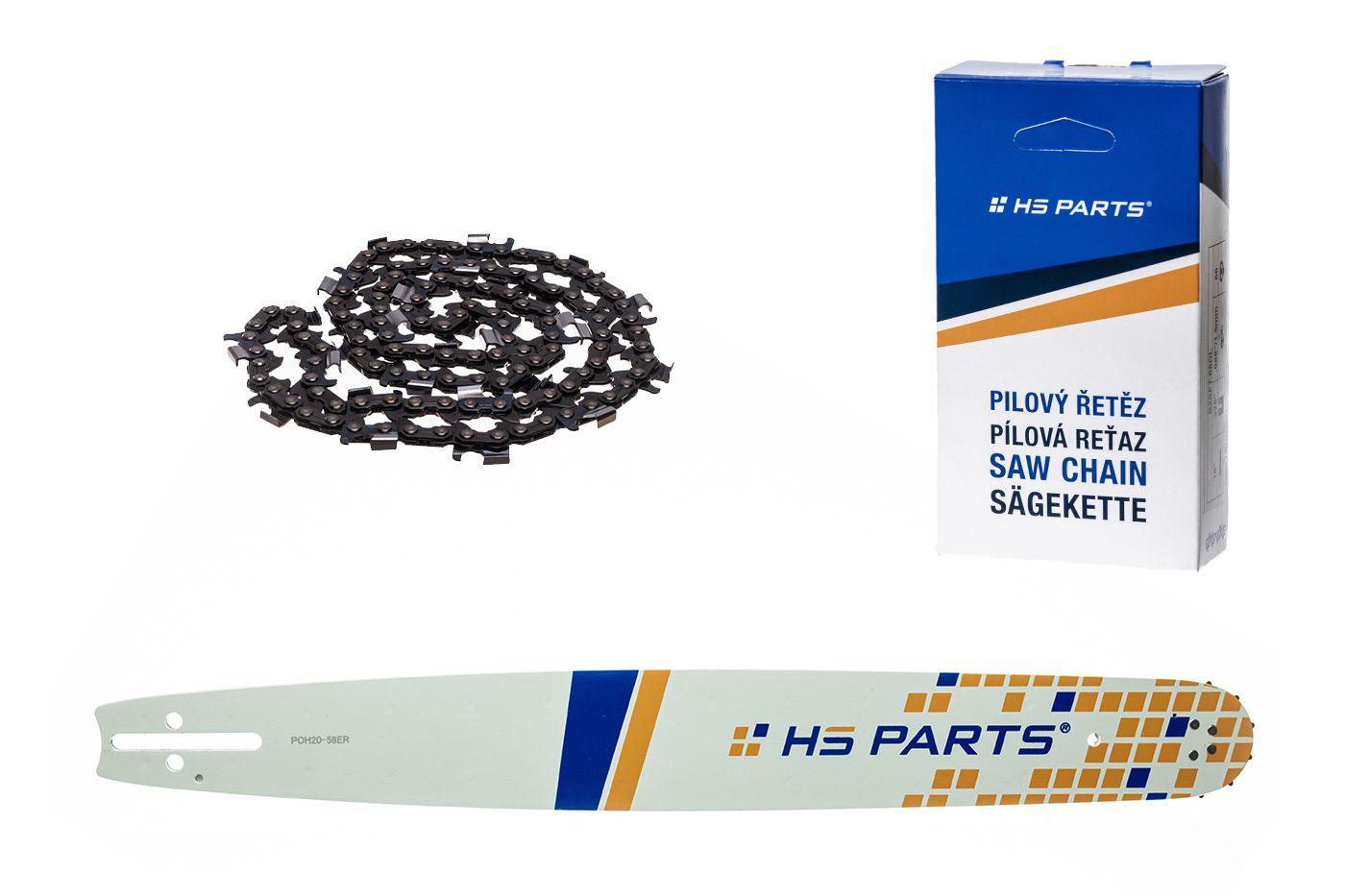 """HS PARTS Akční set vodící lišta 20"""" (50 cm) 3/8"""" .058"""" (1,5 mm) + pilový řetěz p.ř"""