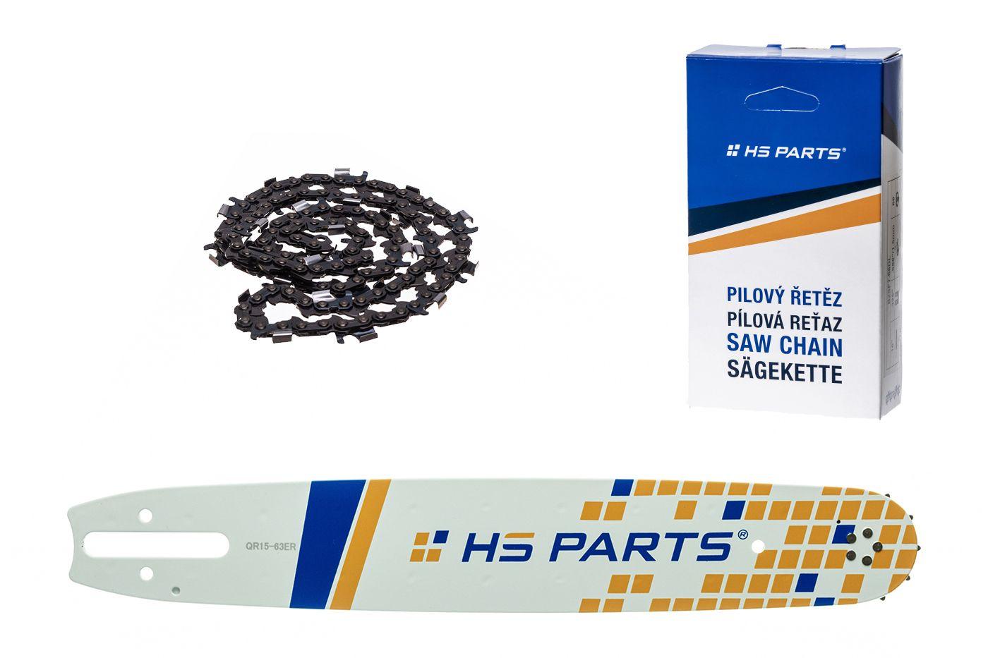 """HS PARTS Akční set vodící lišta 15"""" (38 cm) 3/8"""" .063"""" (1,6 mm) + pilový řetěz na podélné řezání"""