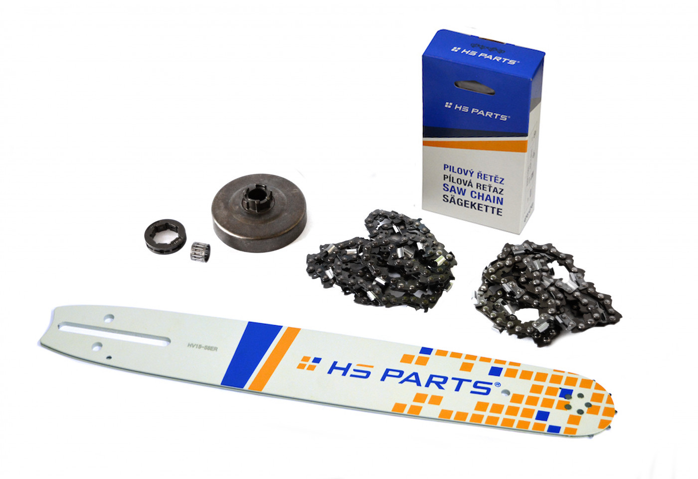 "HS PARTS Vodiaca líšta 15""(38cm) + 2 x reťaz .3/8"" 1,5mm 56čl. + ozubenie Husqvarna 268"