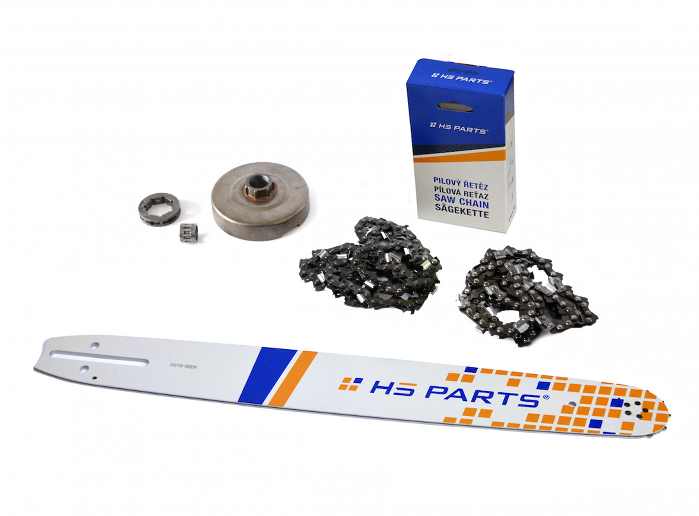 "HS PARTS Vodiaca líšta 18""(45cm) + 2 x reťaz .3/8"" 1,5mm 68čl. + ozubenie Husqvarna 365"