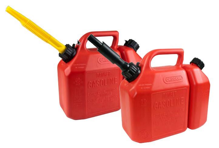 Kanystr na palivo 6L nebo olej 2,5L červený s rychlouzávěrem