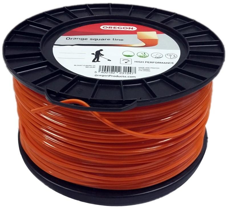 Žací struna oranžová čtverec 2,4 mm x 204m