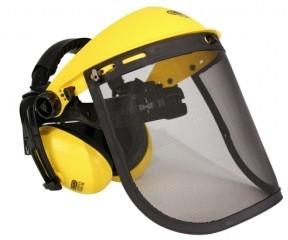 Ochranný štít se sluchátky pro obsluhu křovinořezu (ocelová síťka)
