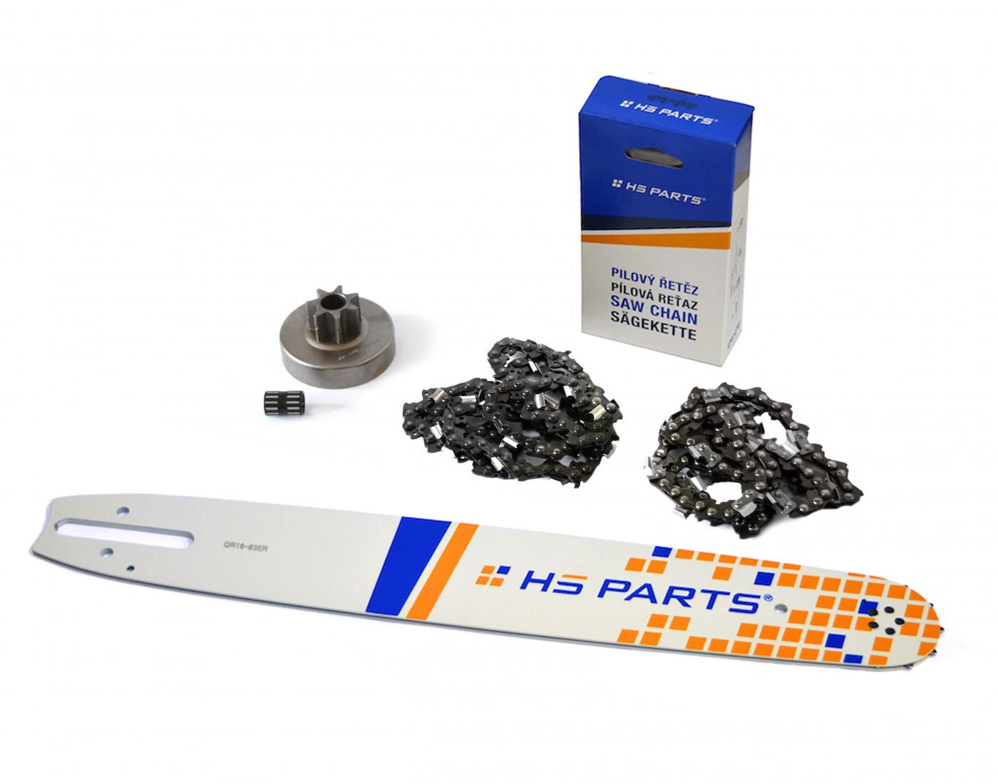 """HS PARTS Vodiaca líšta 16""""(40cm) + 2 x reťaz .3/8"""" 1,6mm 60 čl. + ozubenie pre Stihl MS380"""