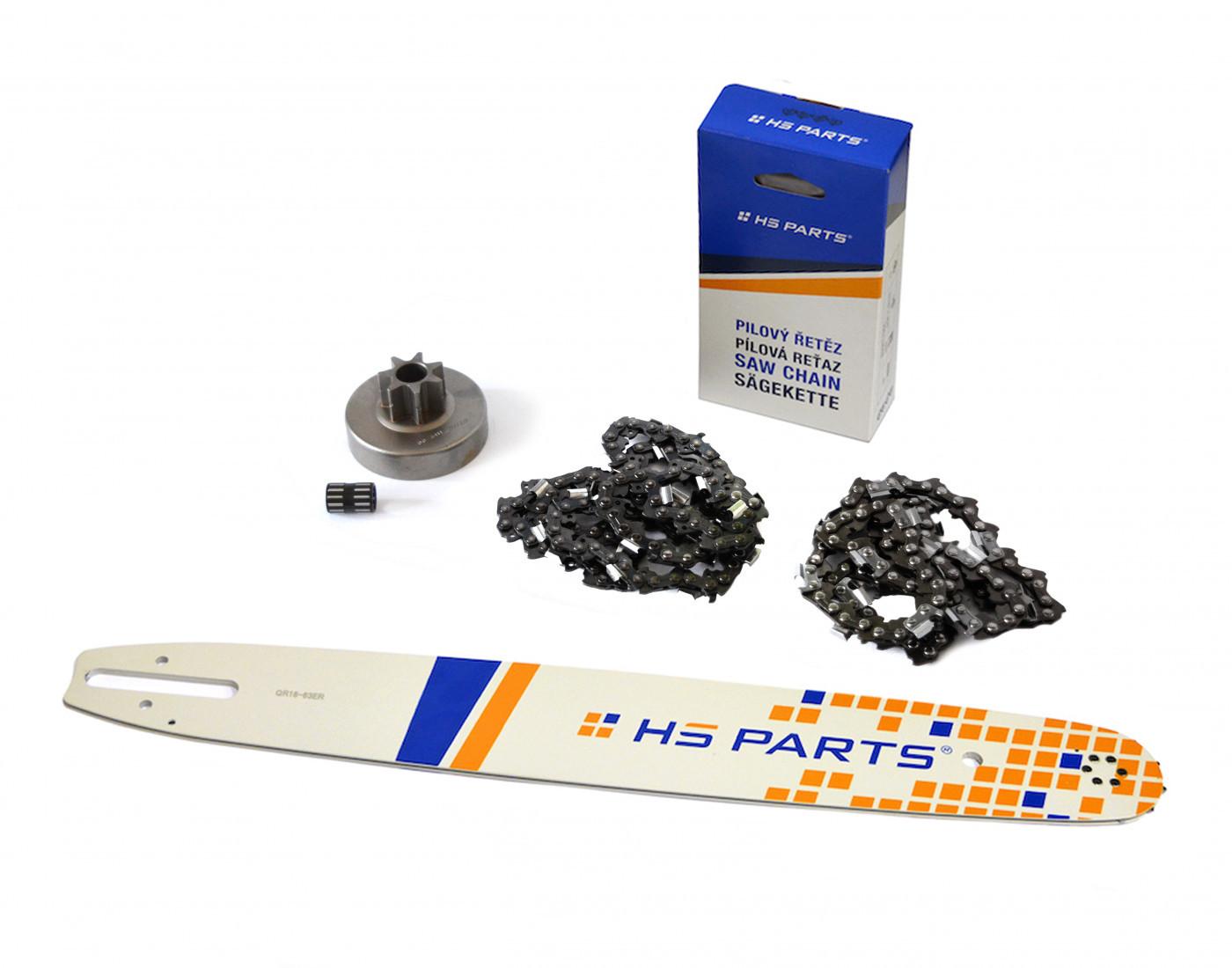 """HS PARTS Vodiaca líšta 18""""(45cm) + 2x reťaz .3/8"""" 1,6mm 66čl. + ozubenie pre Stihl MS380"""