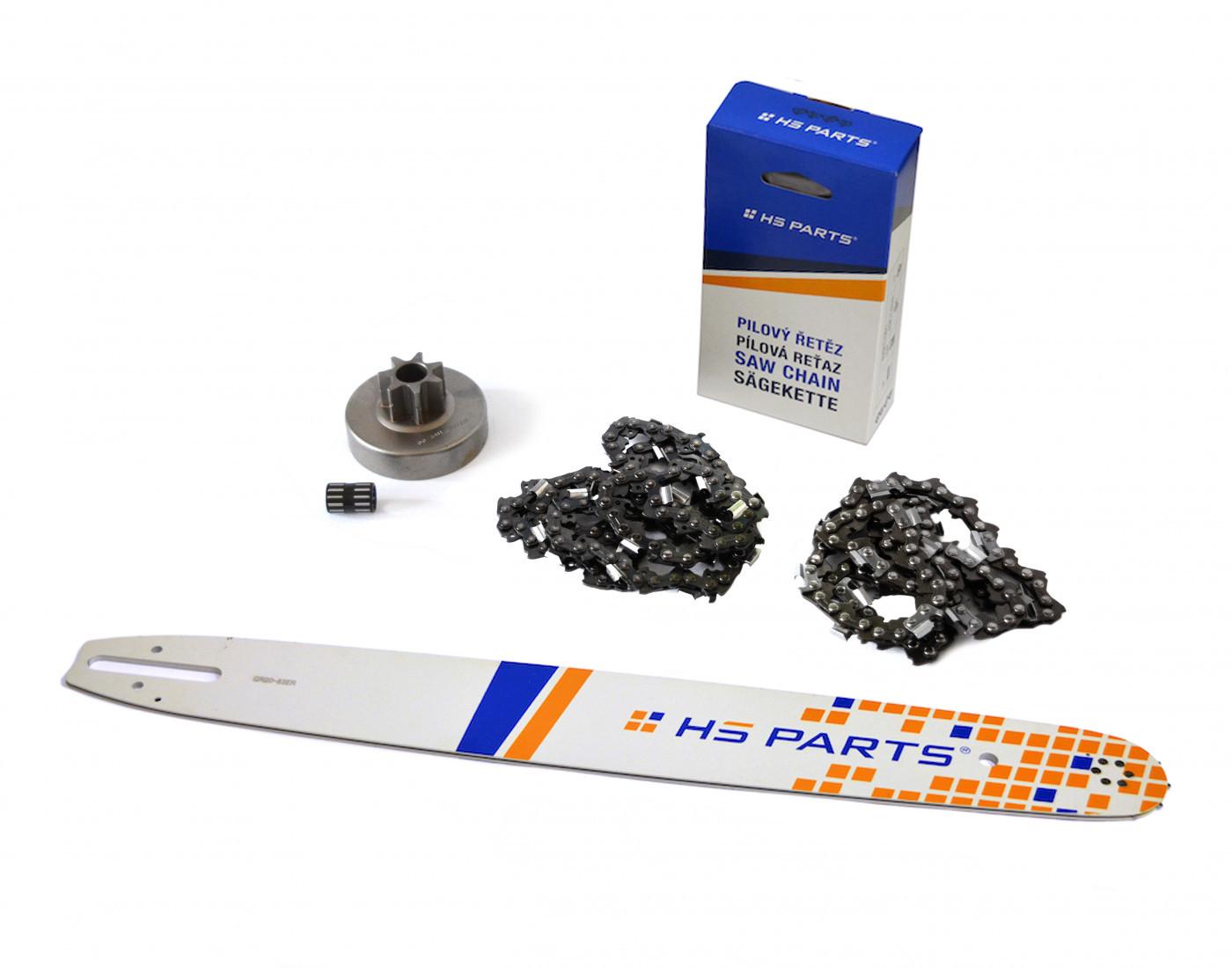 """HS PARTS Vodiaca líšta 20""""(50cm) + 2x reťaz .3/8"""" 1,6mm 72 čl. + ozubenie pre Stihl MS380"""