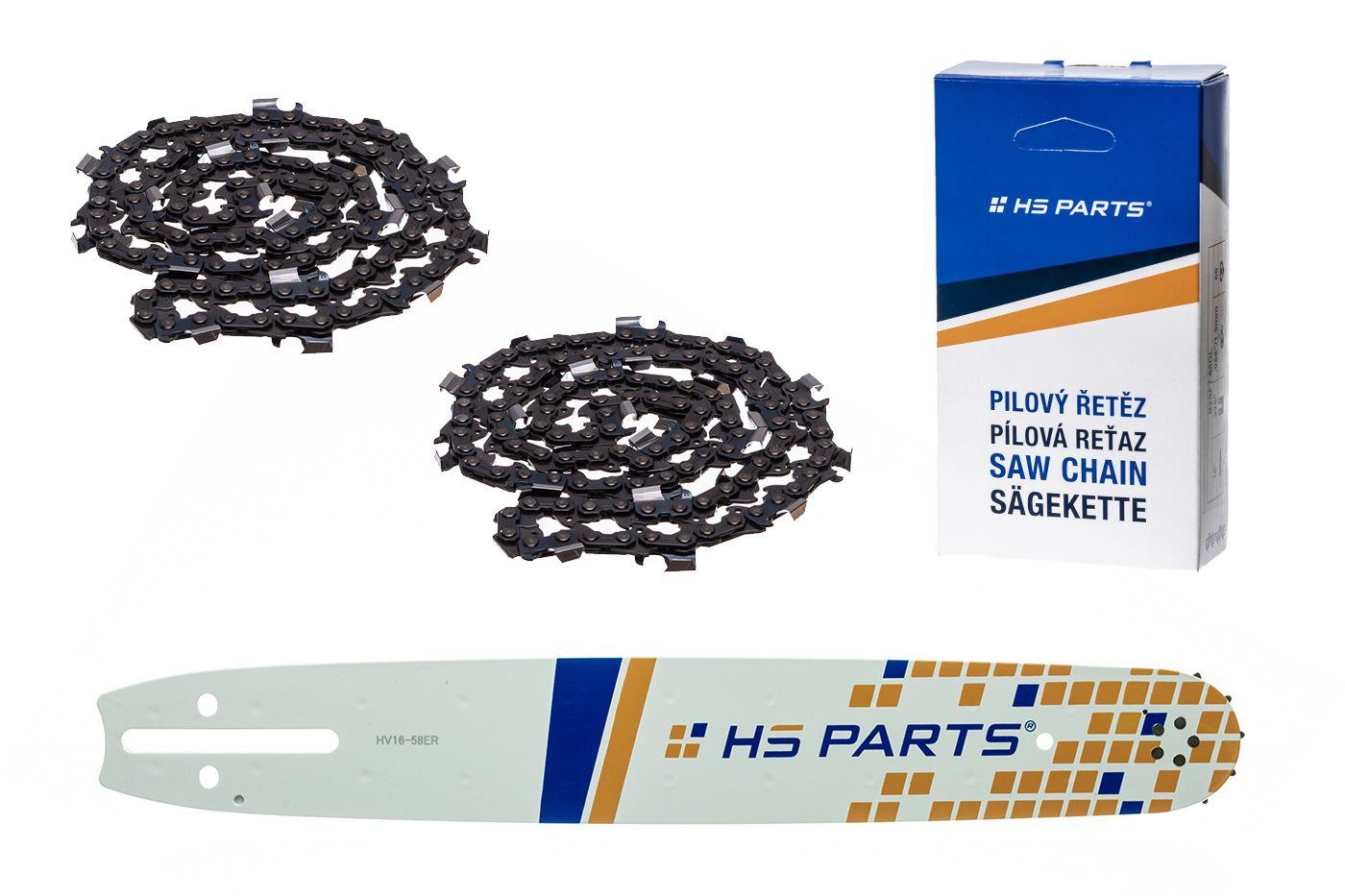 """HS PARTS Vodiaca líšta 16""""(40cm) + 2x reťaz hranatý zub .3/8"""" 1,5mm 60 čl. pre Husqvarna"""