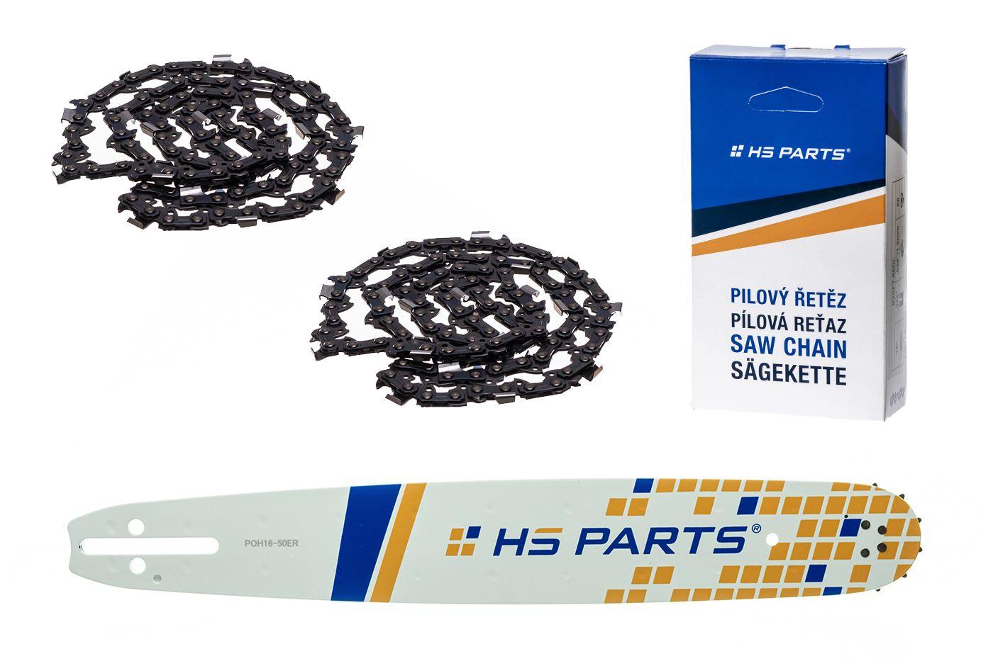 """HS PARTS Akčná súprava - vodiaca lišta 16"""" (40 cm) 3/8"""" .050"""" (1,3 mm) + 2 x pílový reťaz 60 čl."""