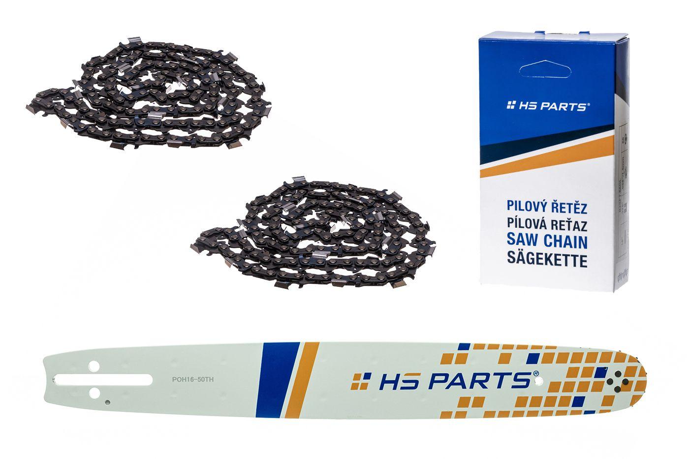 """HS PARTS Vodiaca líšta 16""""(40cm) + 2x reťaz hranatý zub .325"""" 1,3mm 66 čl. pre Husqvarna"""