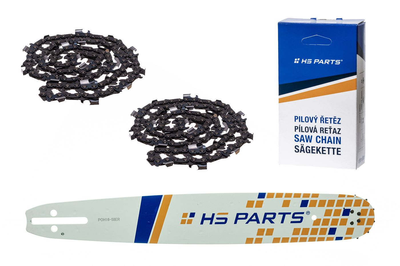 """HS PARTS Akčná súprava - vodiaca lišta 16"""" (40 cm) 3/8"""" .058"""" (1,5 mm) + 2 x pílový reťaz 60 čl."""