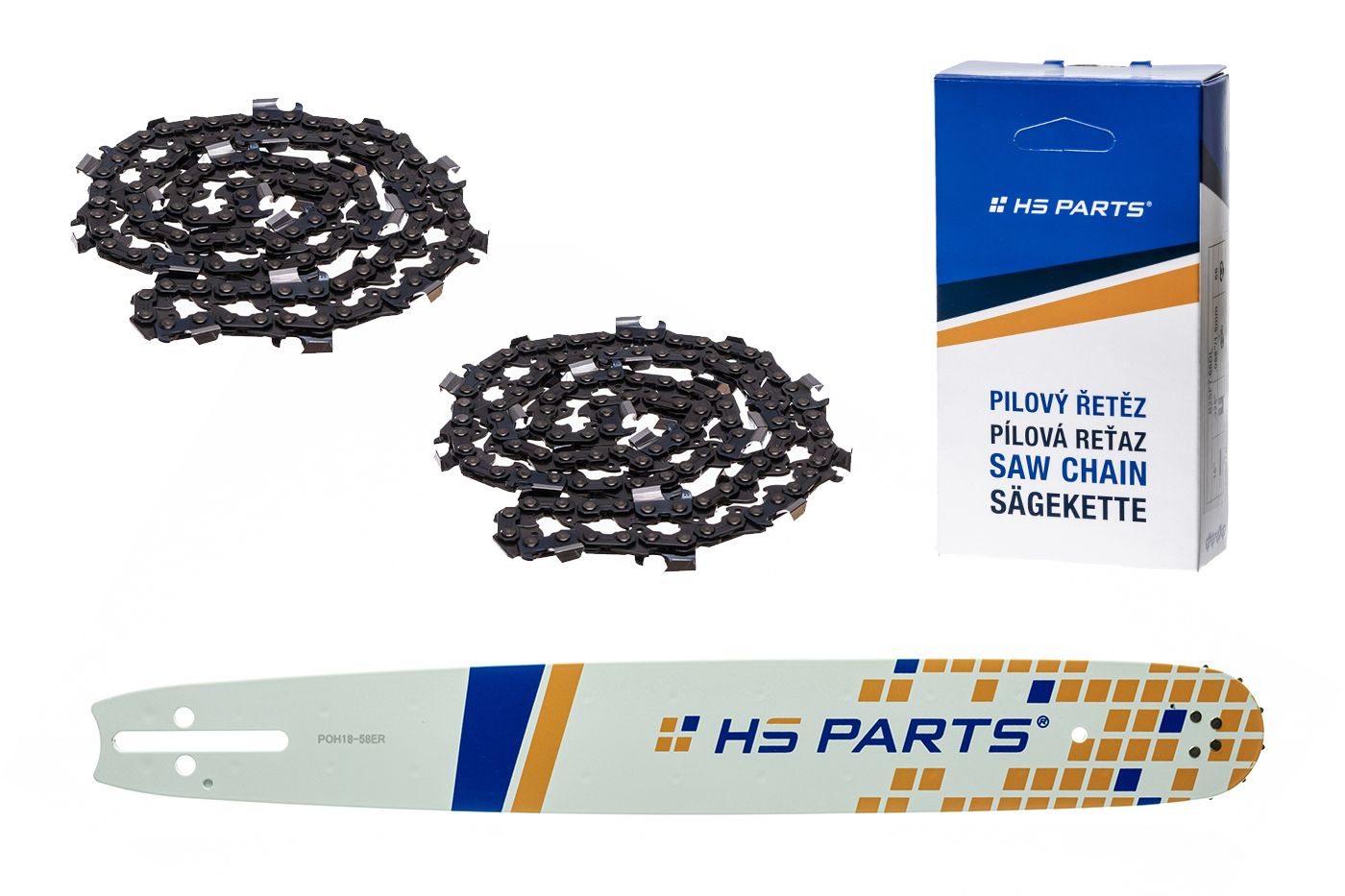 """HS PARTS Akčná súprava - vodiaca lišta 18"""" (45 cm) 3/8"""" .058"""" (1,5 mm) + 2 x pílový reťaz 64 čl."""