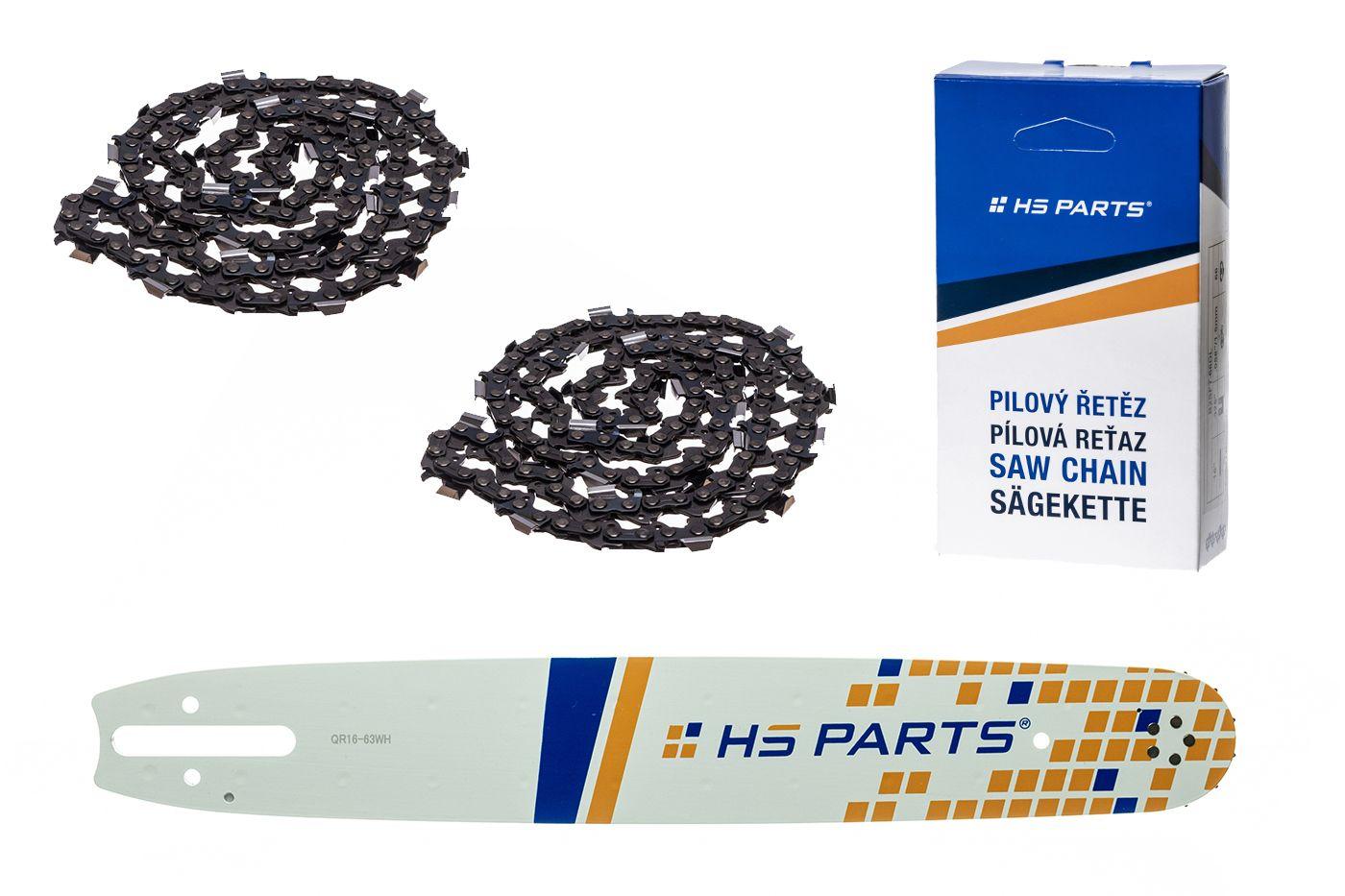 """HS PARTS Vodiaca líšta 16"""" (40cm) + 2 x reťaz hranatý zub .325"""" 1,6mm 67 článkov pre Stihl"""