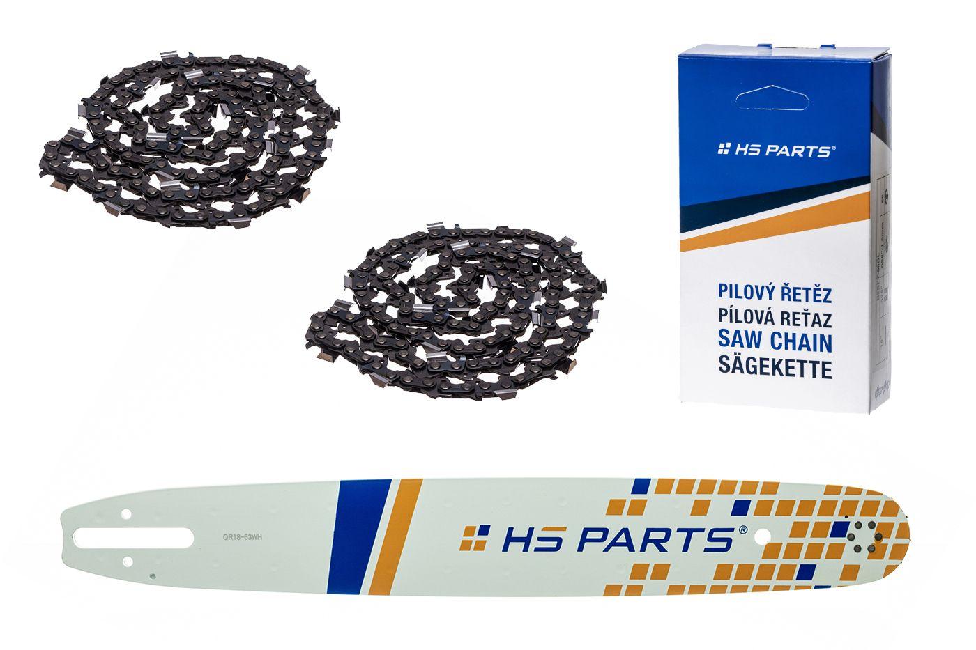 """HS PARTS Vodiaca líšta 18"""" (45 cm) + 2x reťaz hranatý zub .325"""" 1,6 mm 74 čl pre Stihl"""