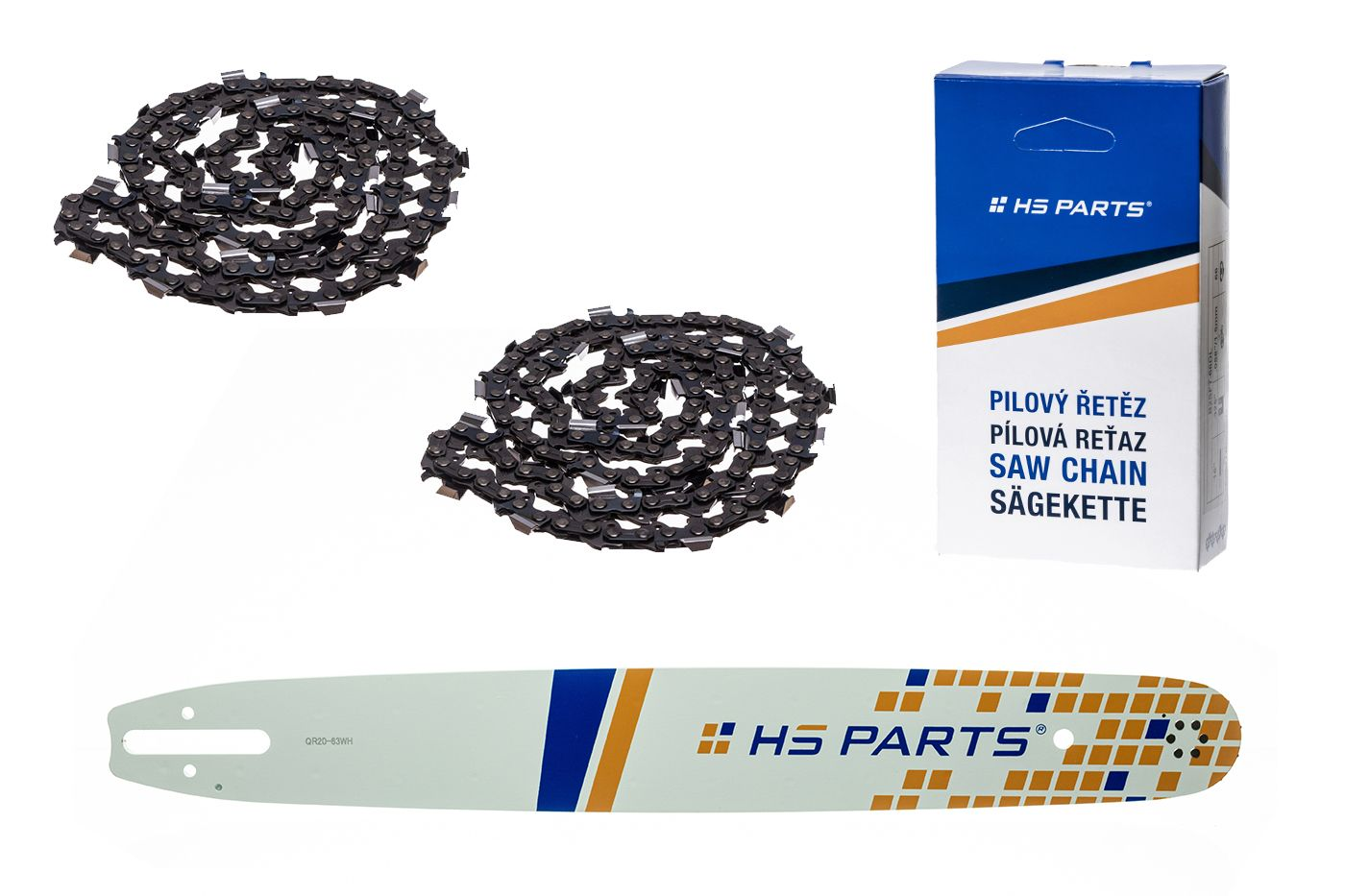 "HS PARTS Vodiaca lišta 20"" (50 cm) + 2x pílový reťaz .325"" .063"" (1,6 mm) 81 čl."