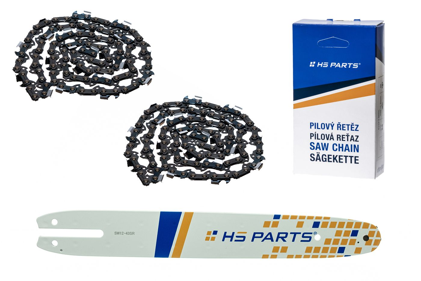 """HS PARTS Akčná súprava - vodiaca lišta 12"""" (30 cm) 3/8"""" .043"""" (1,1 mm) + 2 x pílový reťaz 44 čl."""