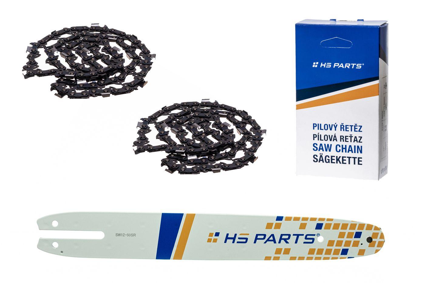 "HS PARTS Akciový set vodiaca líšta 12"" (30 cm) 3/8"" .050"" (1,3 mm) + 2x pílový reťaz 44čl."