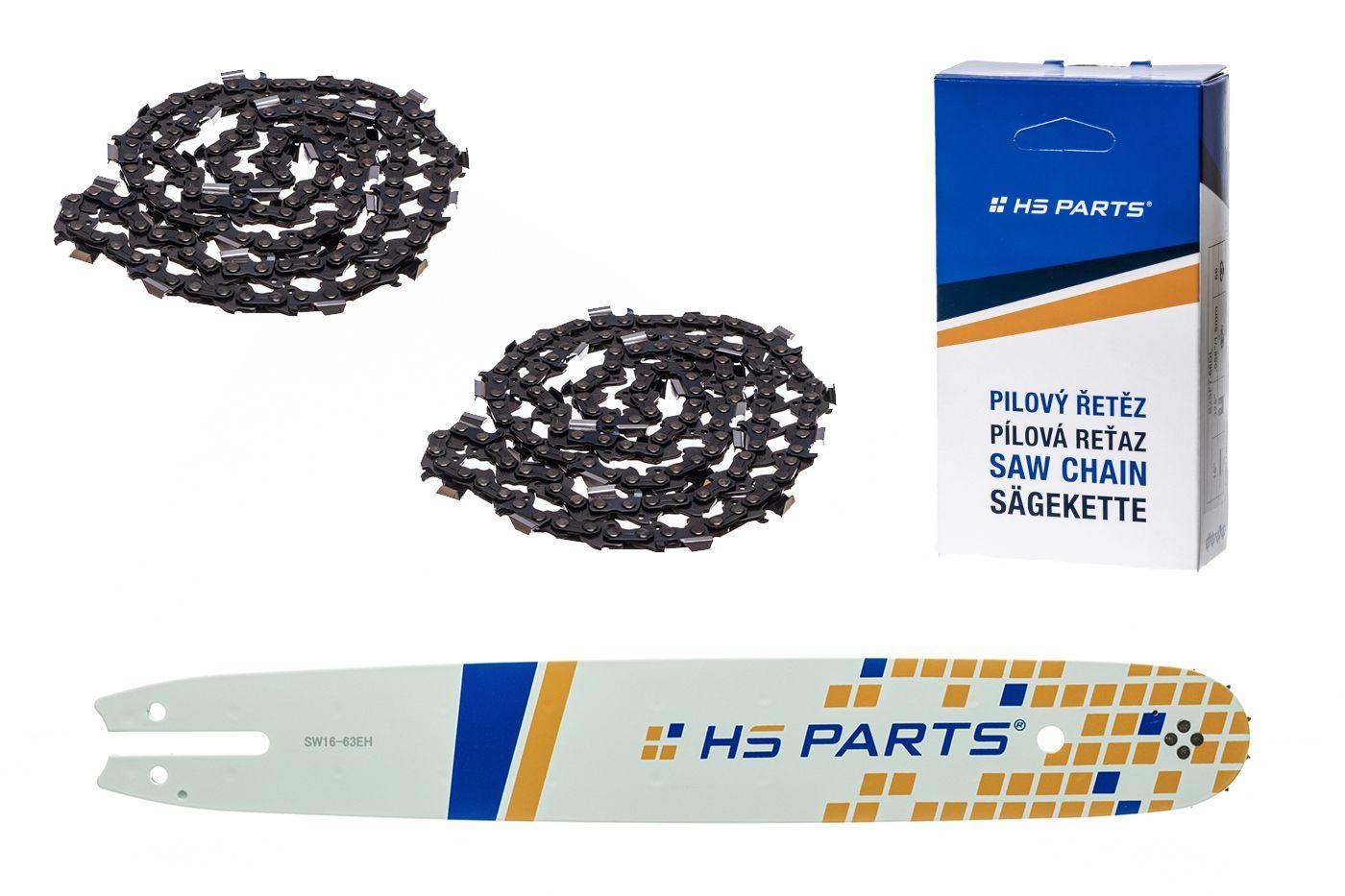 """HS PARTS Akčná súprava - vodiaca lišta 16"""" (40 cm) .325"""" .063"""" (1,6 mm) + 2 x pílový reťaz 62 čl."""