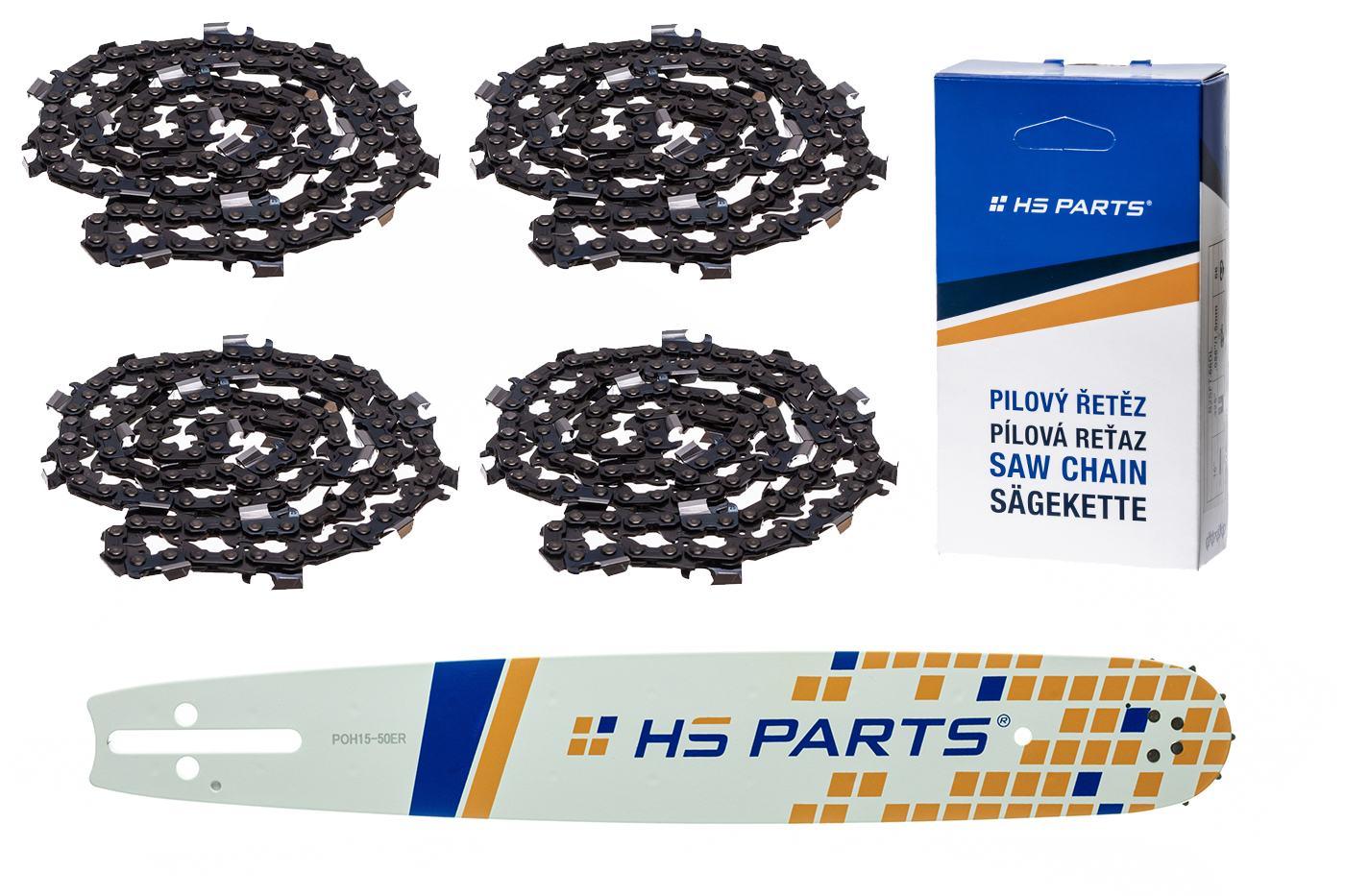 """HS PARTS Akčná súprava - vodiaca lišta 15"""" (38 cm) 3/8"""" .058"""" (1,5 mm) + 4 x pílový reťaz 56 čl."""