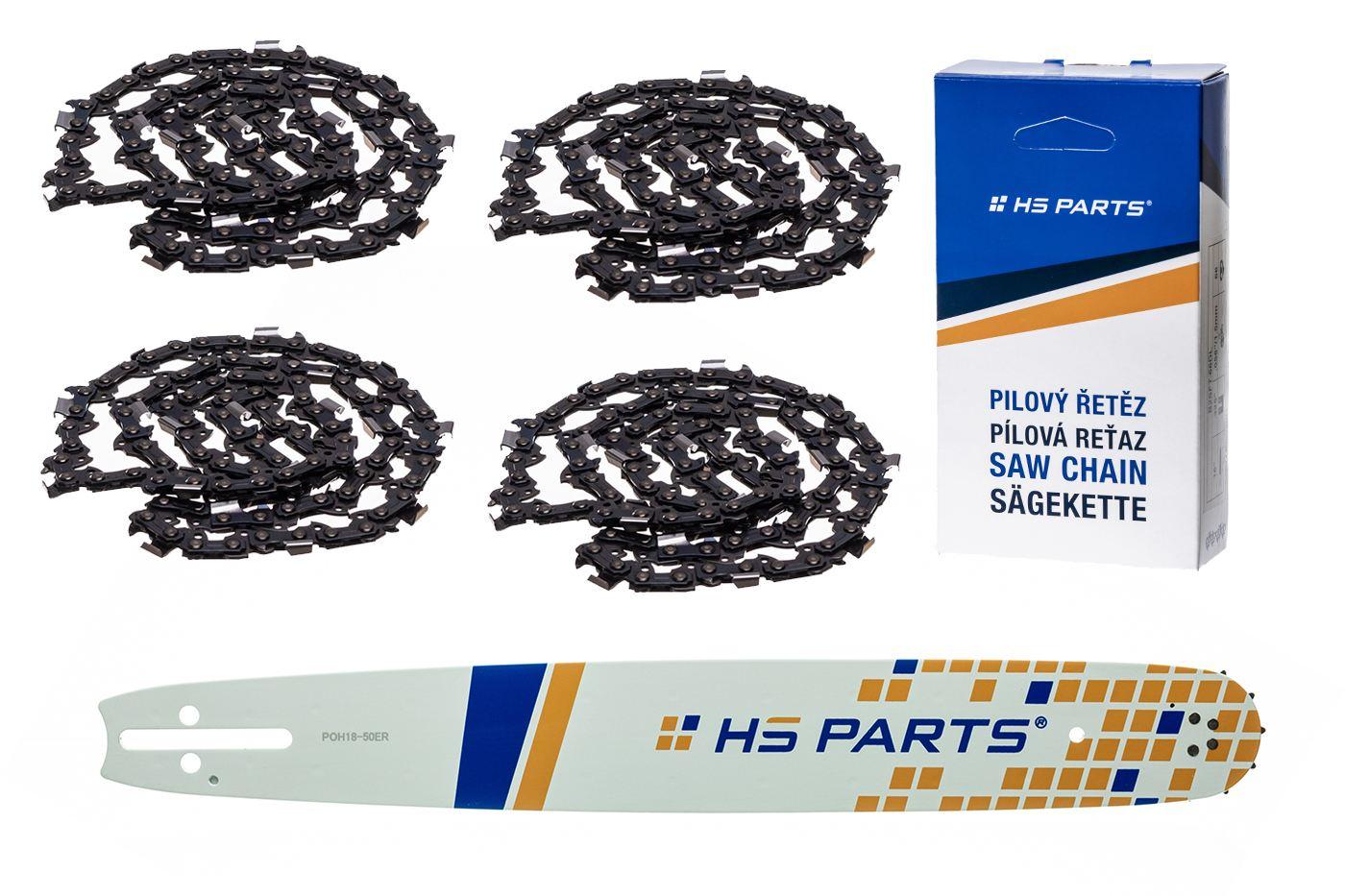 "HS PARTS Akciový set vodiaca líšta 18"" (45 cm) 3/8"" .050"" (1,3 mm) + 4x pílový reťaz 64čl."