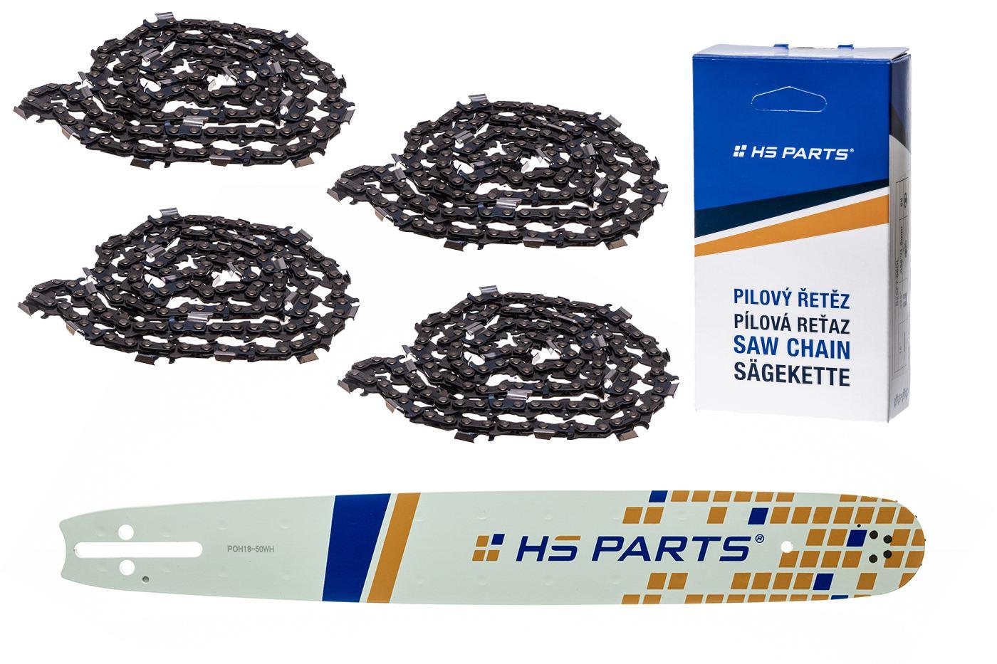 """HS PARTS Vodiaca líšta 18""""(45cm) + 4x reťaz hranatý zub .325"""" 1,3mm 72 čl. pre Husqvarna"""