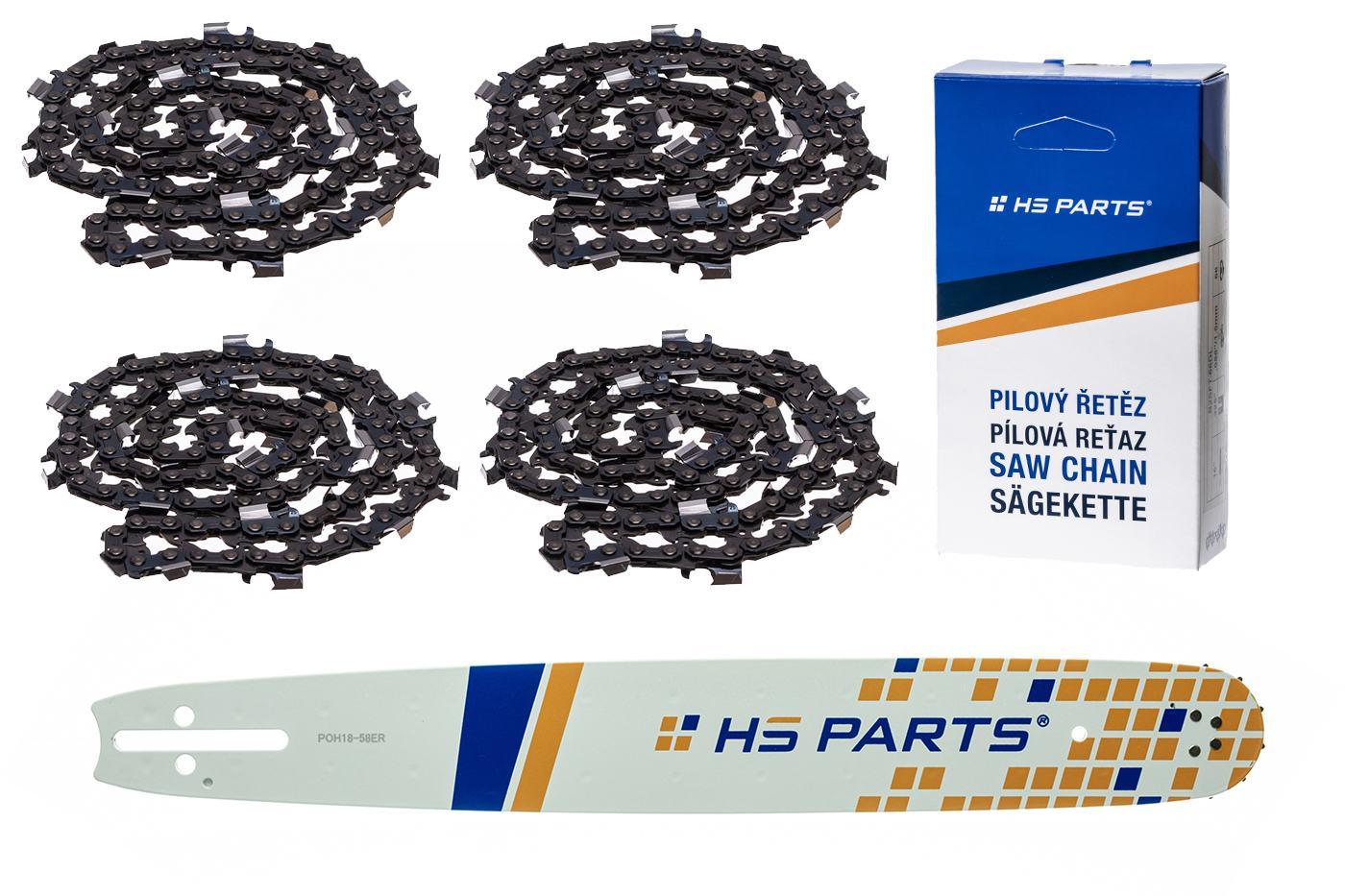 """HS PARTS Akčná súprava - vodiaca lišta 18"""" (45 cm) 3/8"""" .058"""" (1,5 mm) + 4 x pílový reťaz 68 čl."""