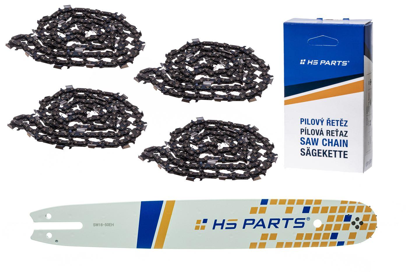 """HS PARTS Akčná súprava - vodiaca lišta 16"""" (40 cm) .325"""" .050"""" (1,3 mm) + 4 x pílový reťaz 62 čl."""