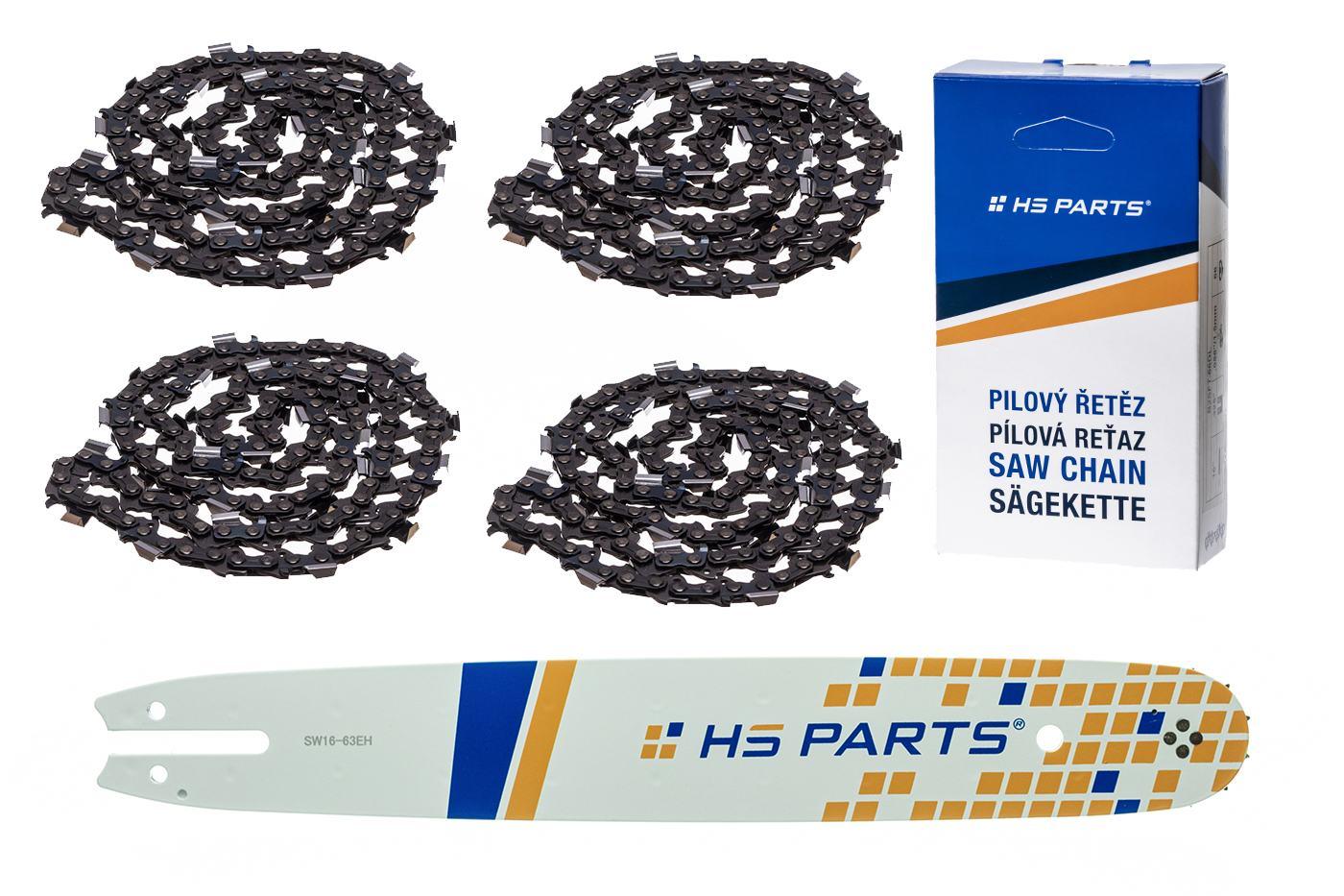 """HS PARTS Akčná súprava - vodiaca lišta 16"""" (40 cm) .325"""" .063"""" (1,6 mm) + 4 x pílový reťaz 62 čl."""