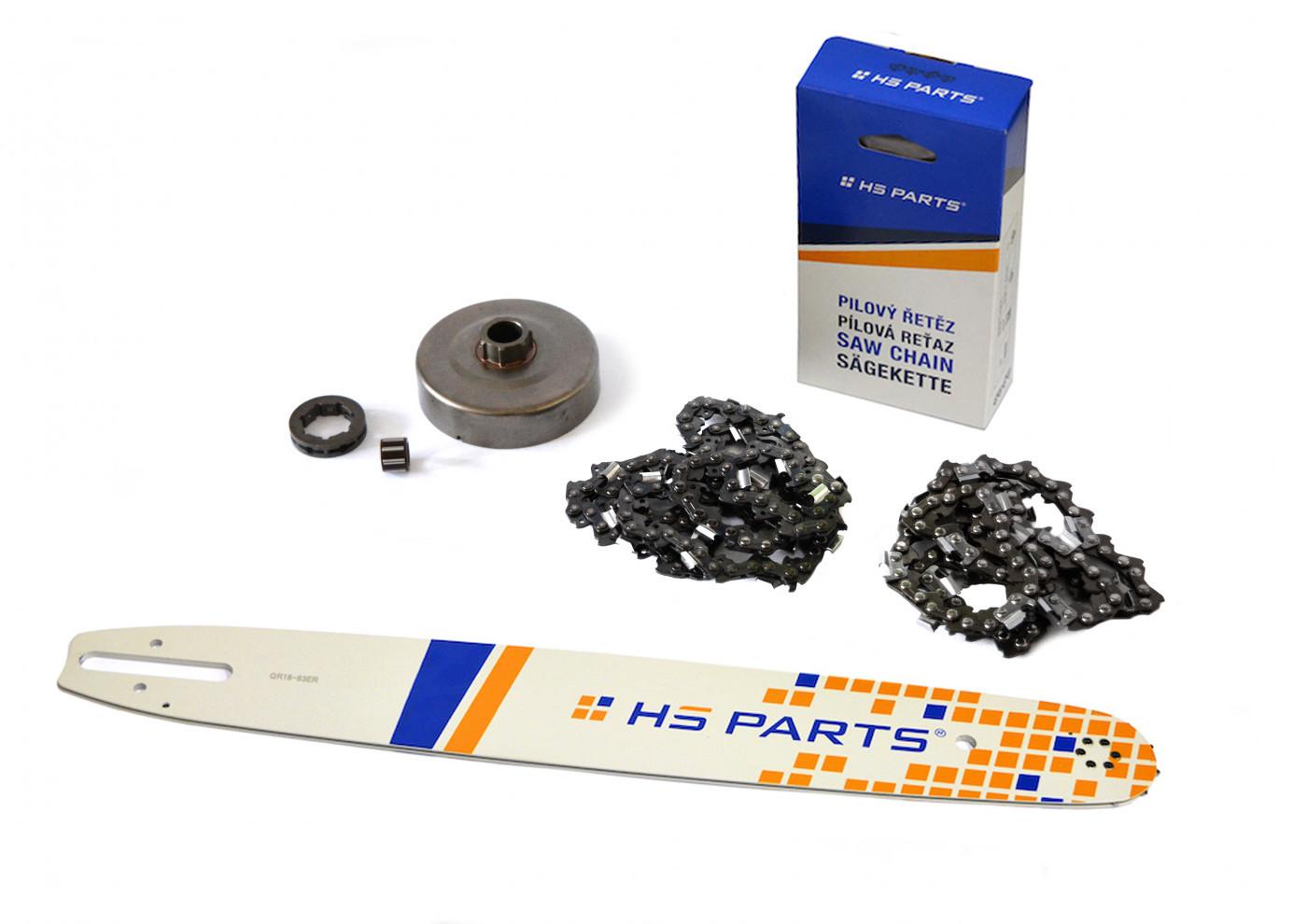 """HS PARTS Vodiaca líšta 18""""(45cm) + 2x reťaz .3/8"""" 1,6mm 66čl. + ozubenie pre Stihl MS660"""