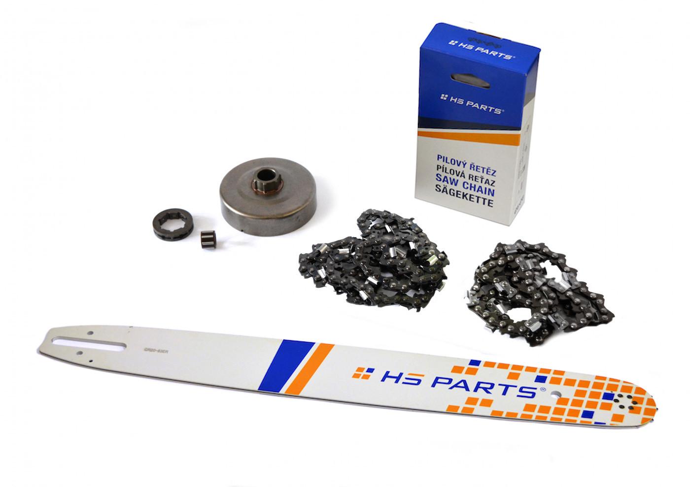 """HS PARTS Vodiaca líšta 20""""(50cm) + 2x reťaz .3/8"""" 1,6mm 72 čl. + ozubenie pre Stihl MS660"""