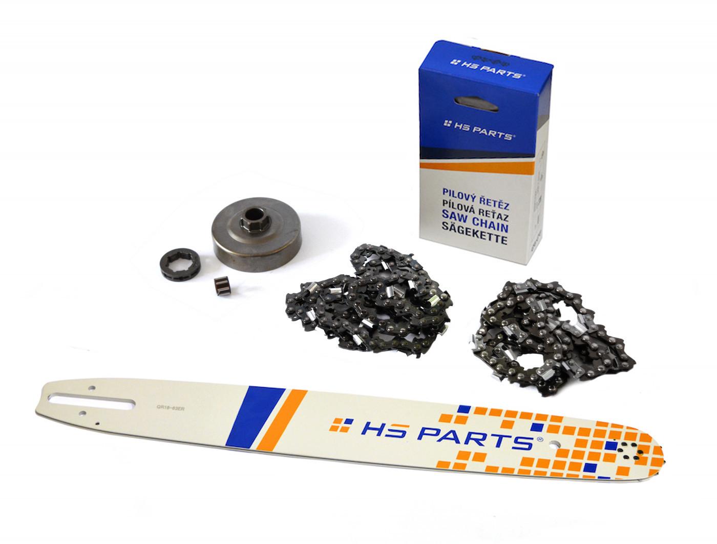 """HS PARTS Vodiaca líšta 18""""(45cm) + 2x reťaz .3/8"""" 1,6mm 66čl. + ozubenie pre Stihl MS360"""