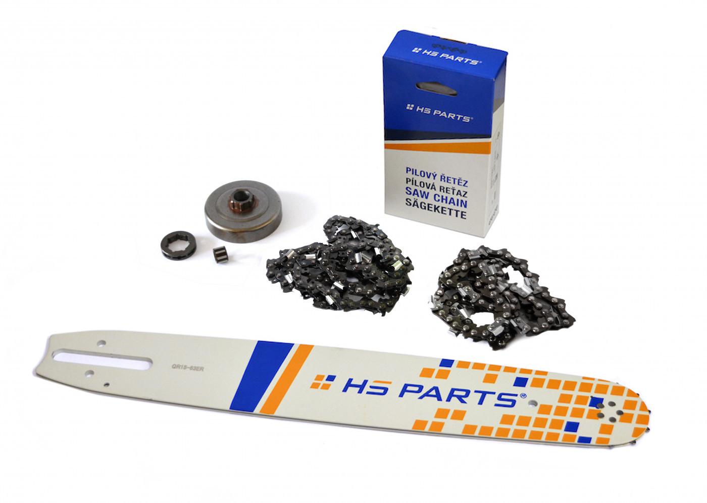 """HS PARTS Vodiaca líšta 15""""(38cm) + 2 x reťaz .3/8"""" 1,6mm 56 čl. + ozubenie pre Stihl MS361"""