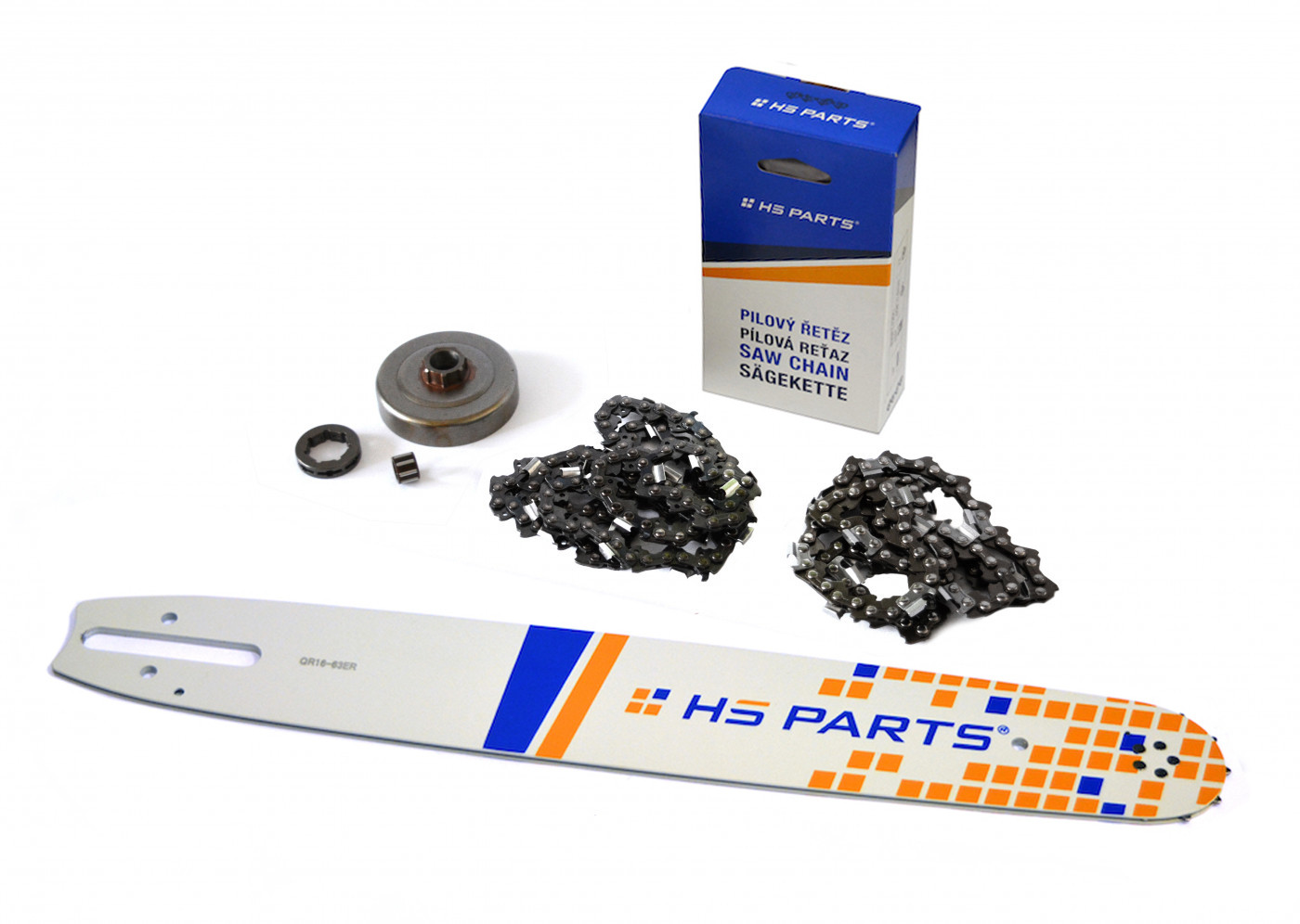 """HS PARTS Vodiaca líšta 16""""(40cm) + 2 x reťaz .3/8"""" 1,6mm 60 čl. + ozubenie pre Stihl MS361"""